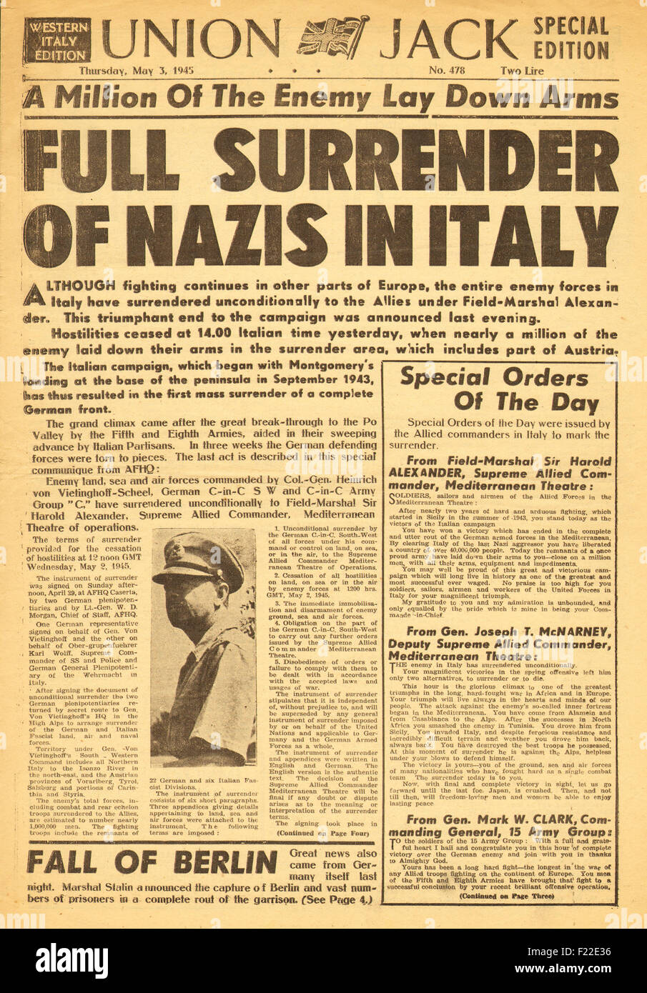 1945 Union Jack British Military Newspaper Front Page Reporting German Forces Surrender In Italy