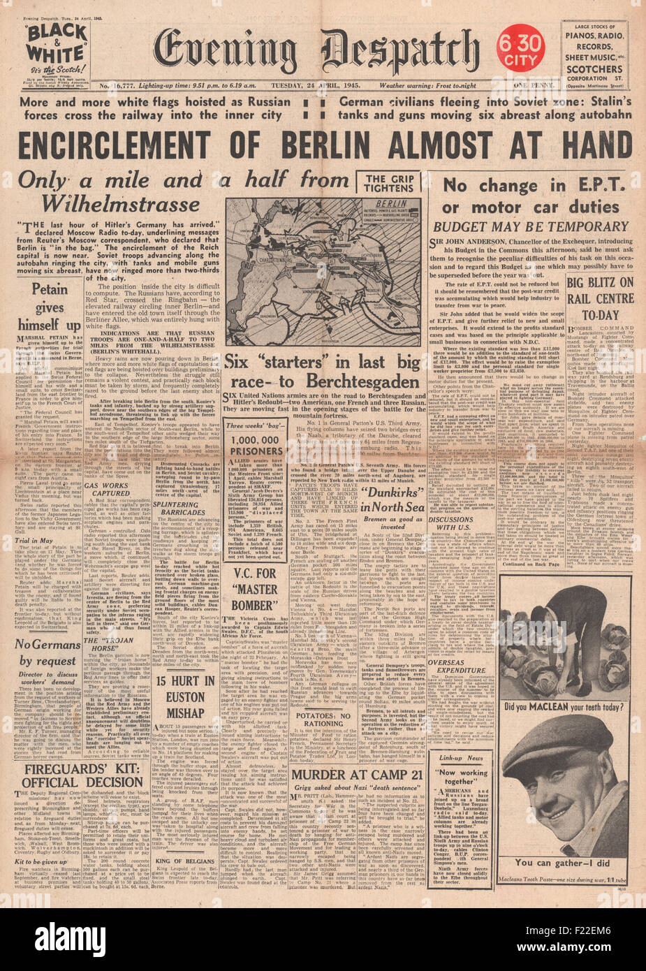 1945 Evening Despatch front page reporting  Battle for Berlin - Stock Image