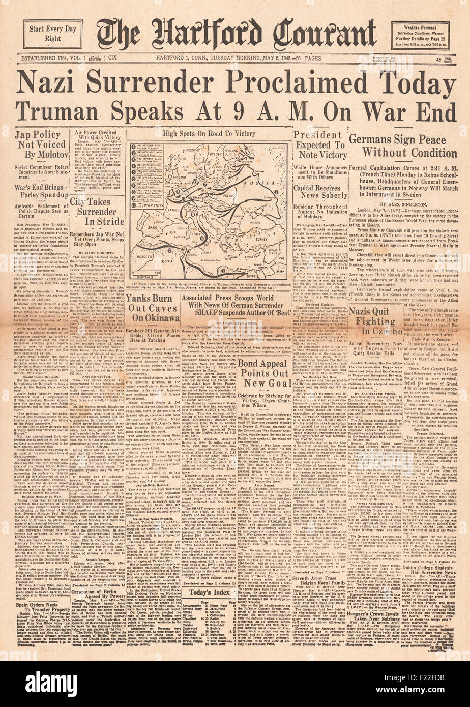 1945 Hartford Courant front page reporting VE Day Stock