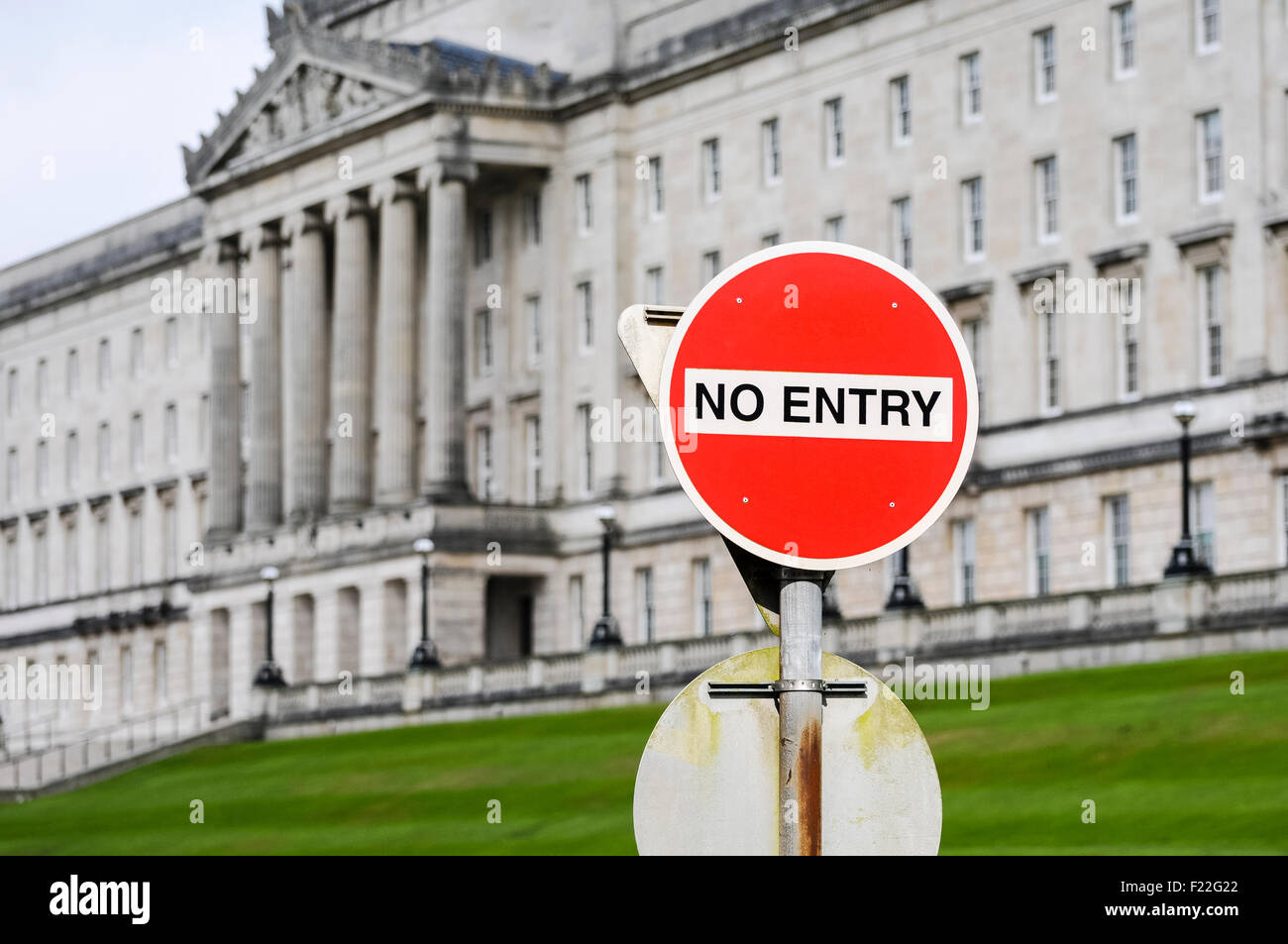 No Entry traffic road sign outside Parliament Buildings, Stormont Estate symbolising political parties not sitting - Stock Image