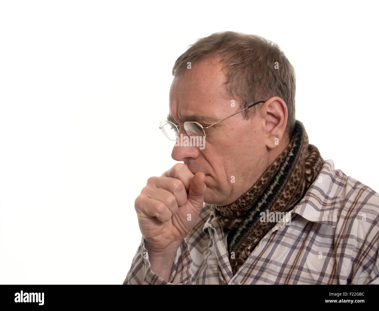 Mann hustet Stock Photo