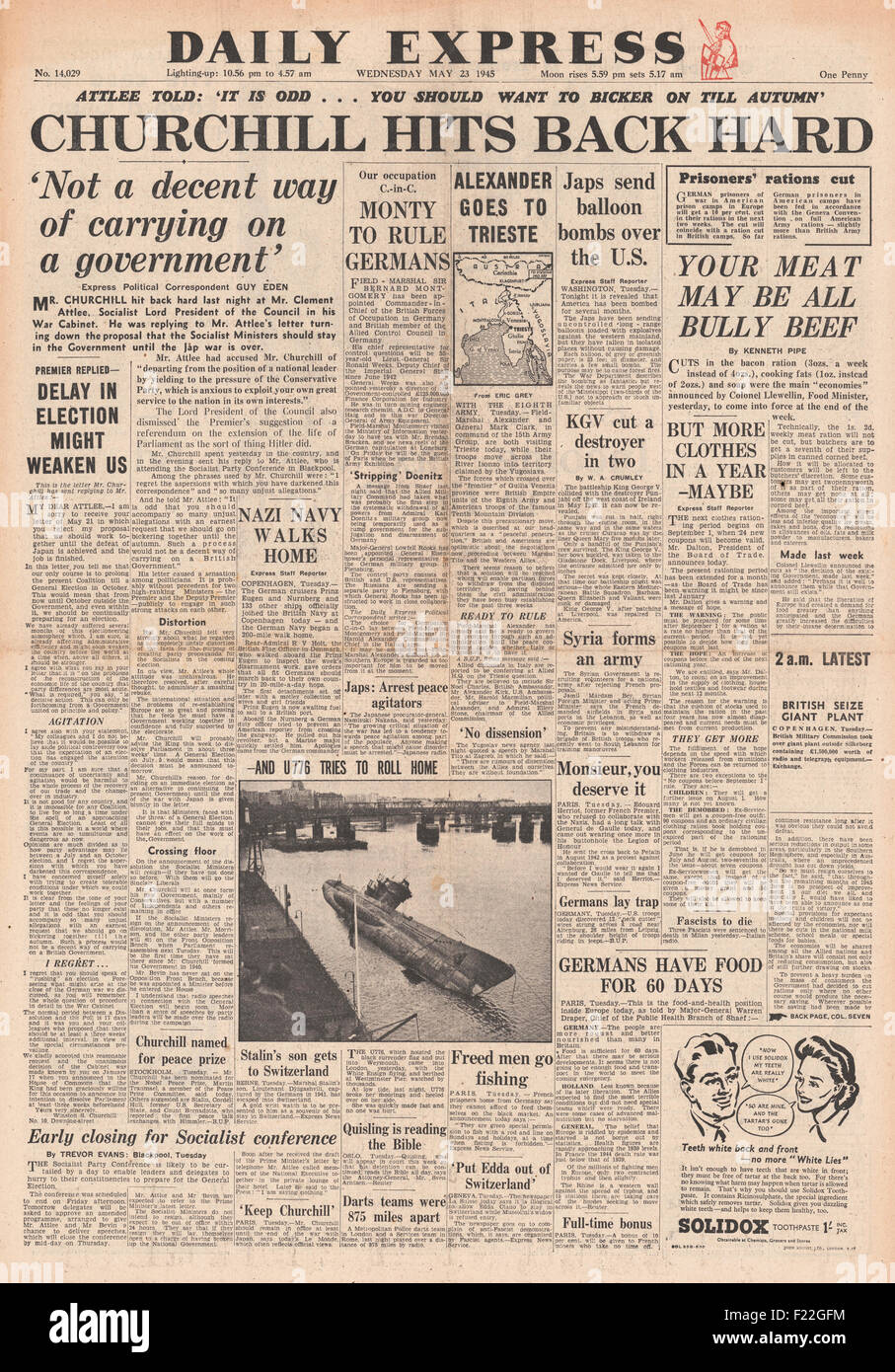 1945 Daily Express front page reporting General Election Announced and Churchill Hits Back at Atlee - Stock Image