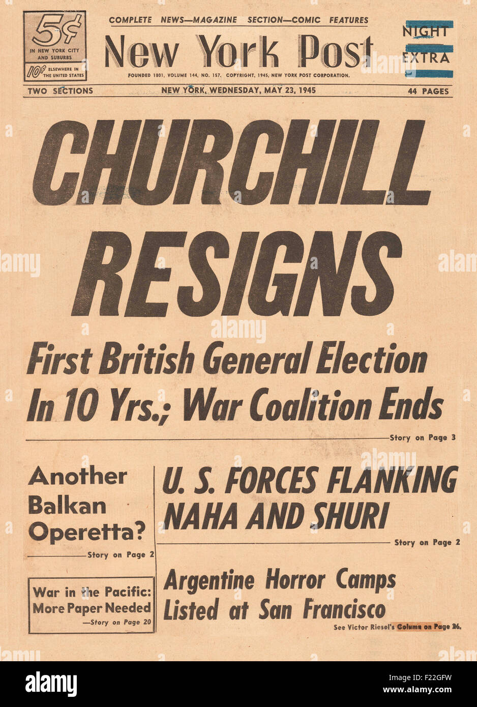 1945 New York Post front page reporting Churchill and British Government Resign - Stock Image