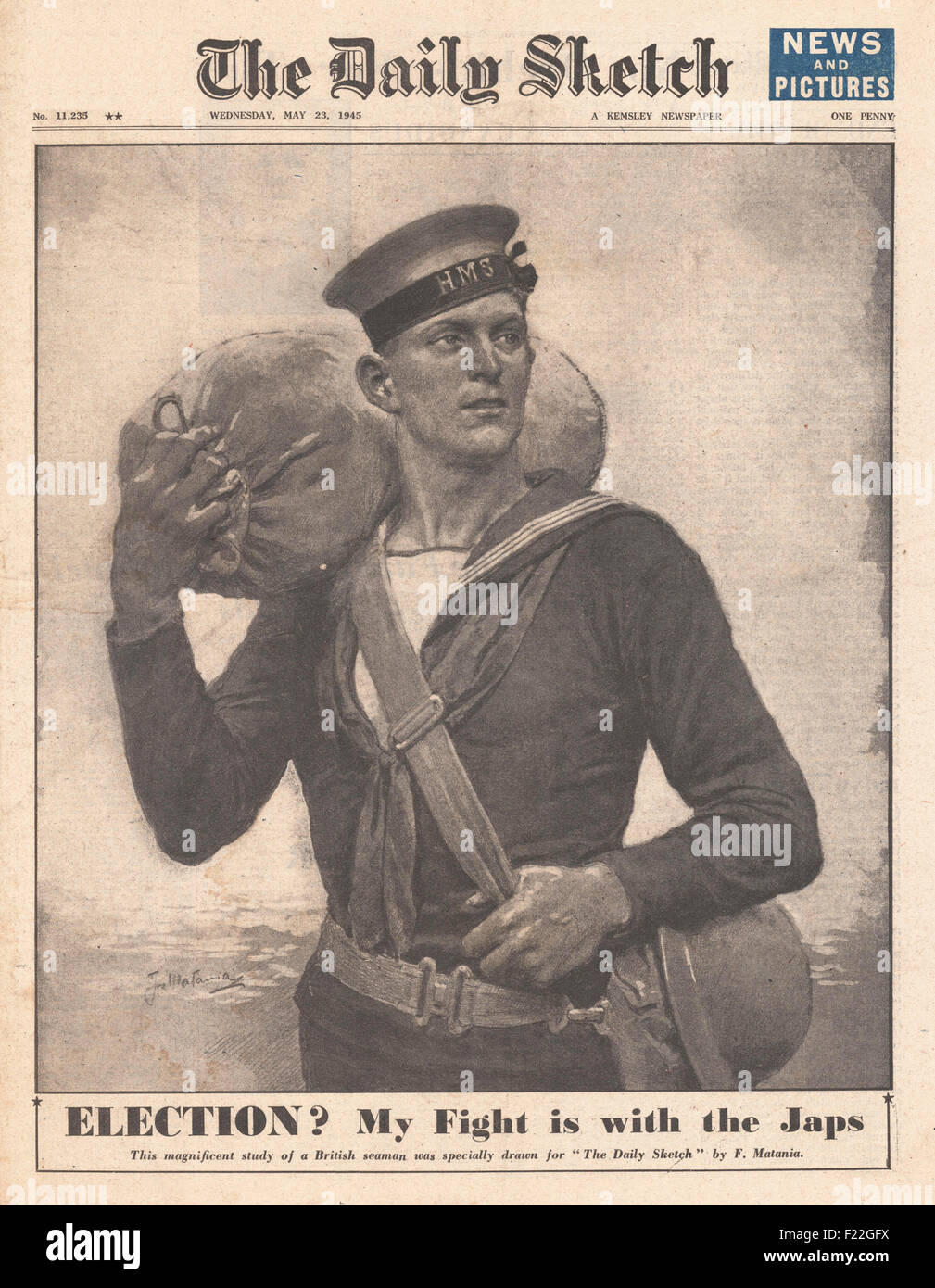 1945 Daily Sketch front page reporting  Criticism of General Election - Stock Image