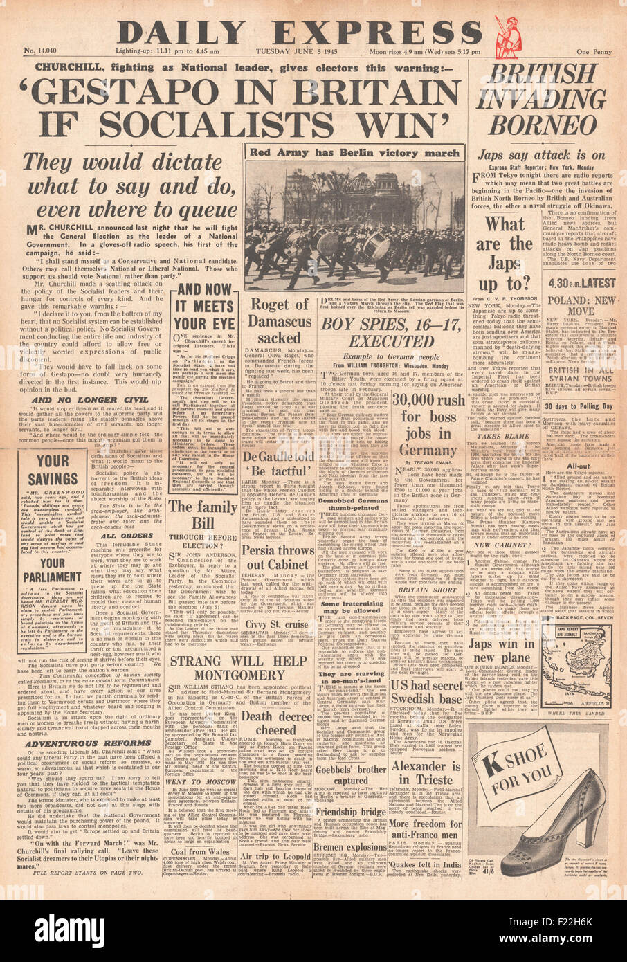 1945 Daily Express front page reporting Churchill Claims 'Gestapo In Britain If Socialists Win' General - Stock Image