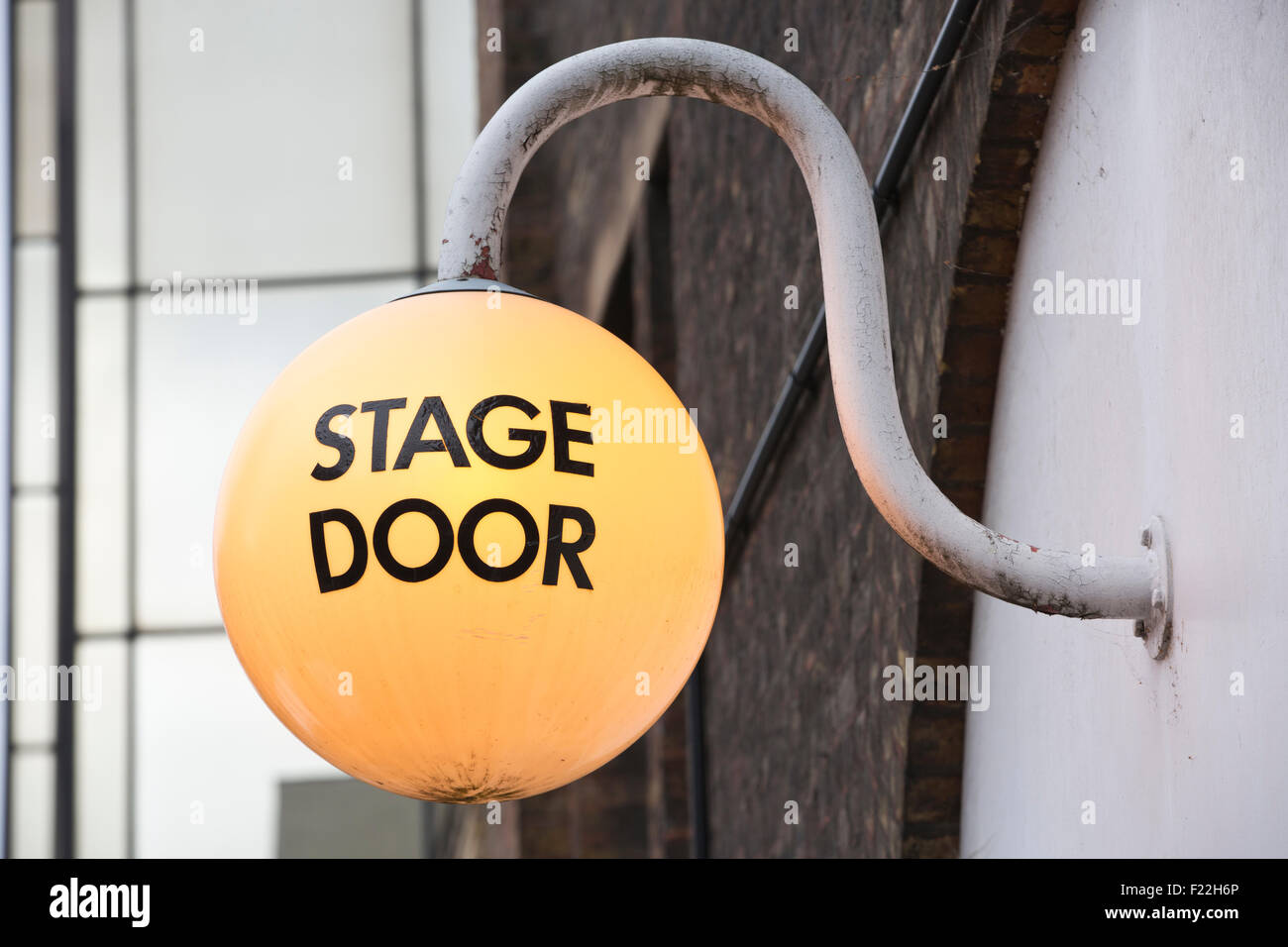 Stage Door outside The Old Vic Theatre, south-east of Waterloo Station, Central London, England, UK - Stock Image