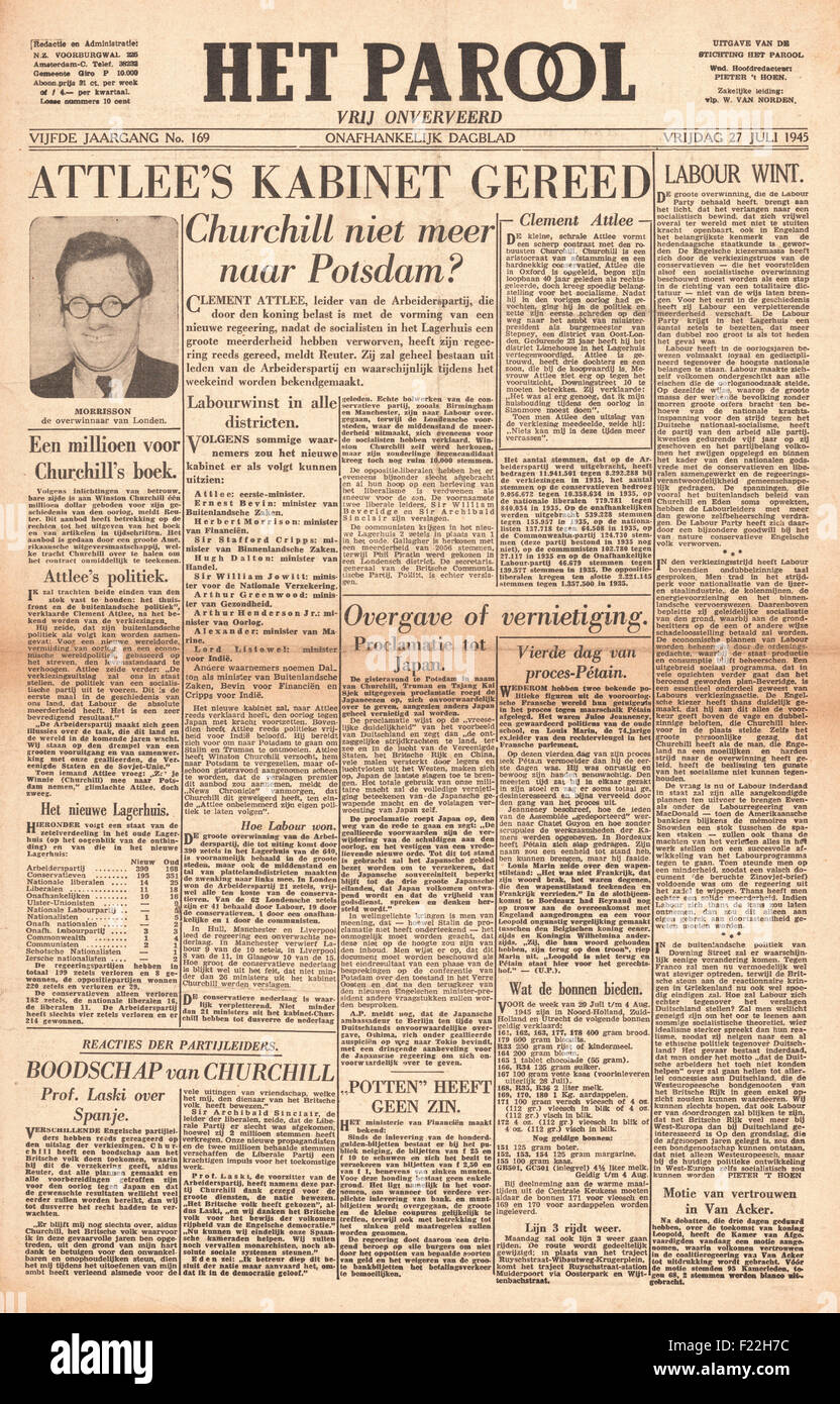 1945 Het Parool (Holland) front page reporting Clement Attlee and Labour Party Win General Election and Winston - Stock Image