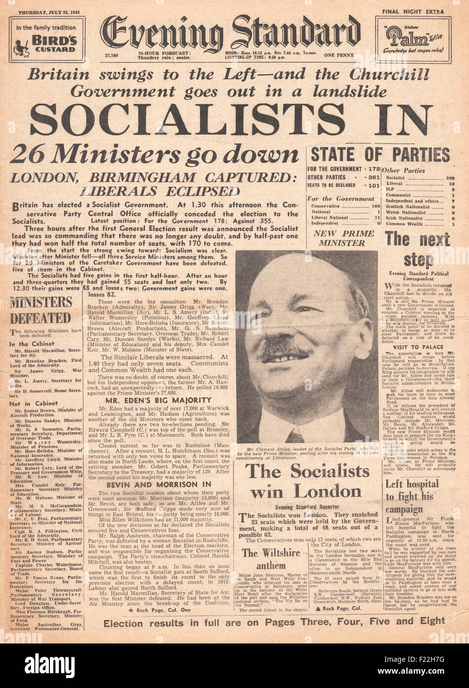 1945 Evening Standard (London) front page reporting Clement Attlee and Labour Party Win General Election and Winston - Stock Image