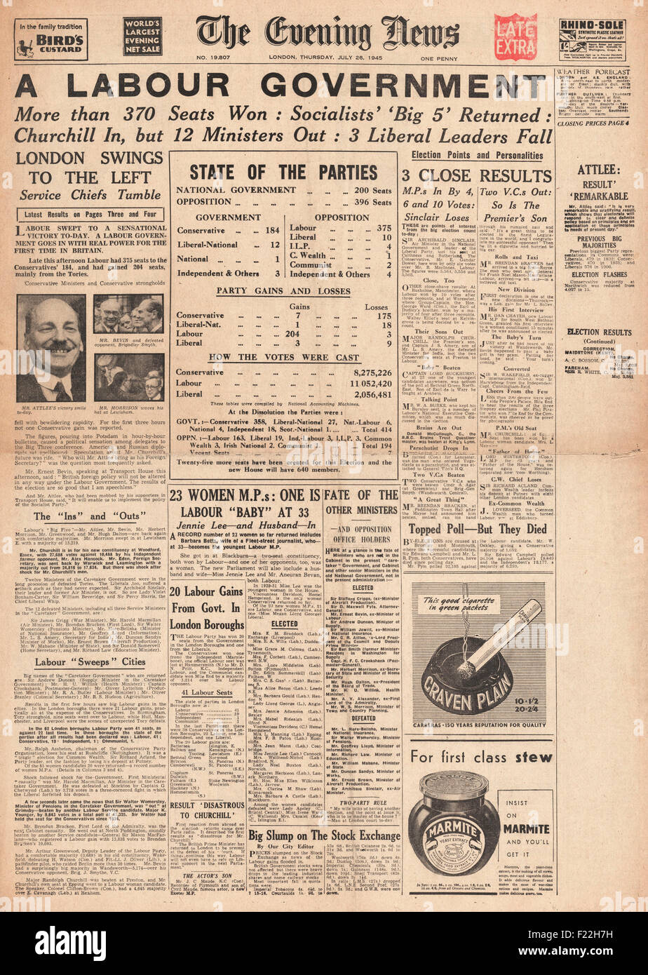 1945 Evening News (London) front page reporting Clement Attlee and Labour Party Win General Election and Winston - Stock Image