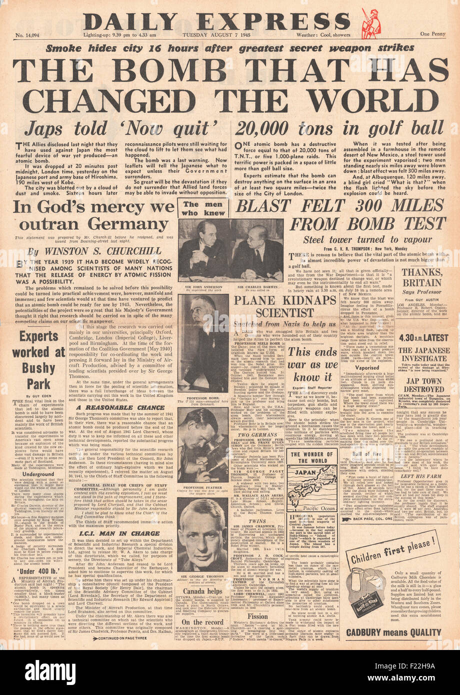 1945 Daily Express Post front page reporting Atom Bomb Dropped On Hiroshima Stock Photo