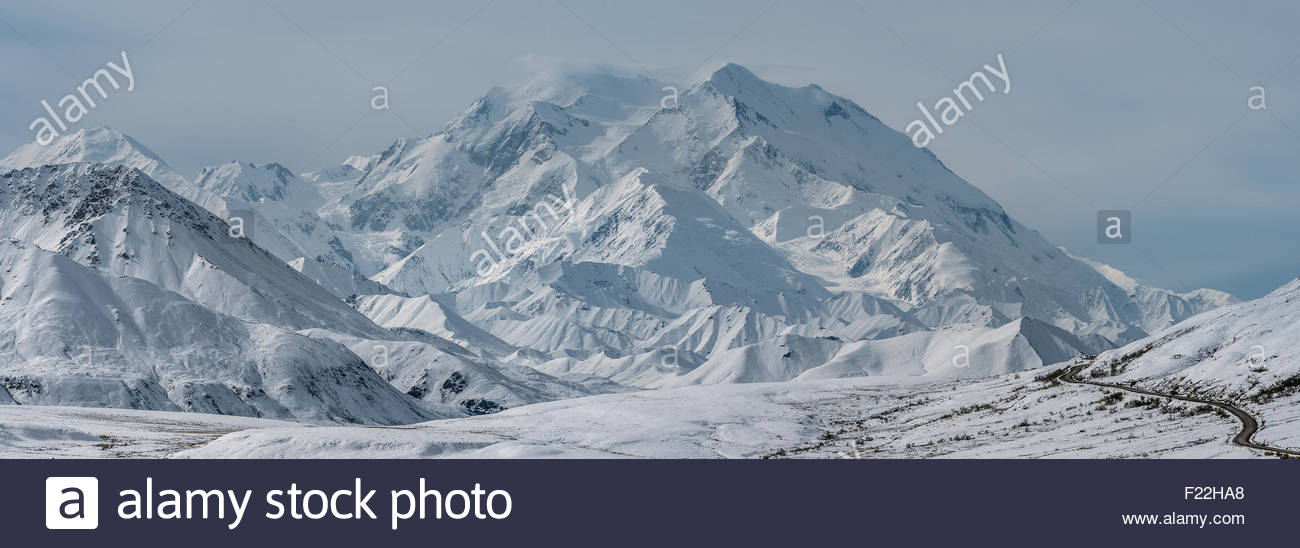 Denali (also known as Mount McKinley) and the park road (bottom right) in Denali national park - Alaska Stock Photo