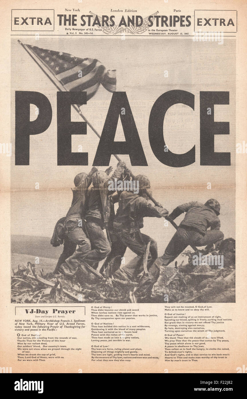 1945 front page Stars and Stripes reporting the end of World War Two and VJ  Day