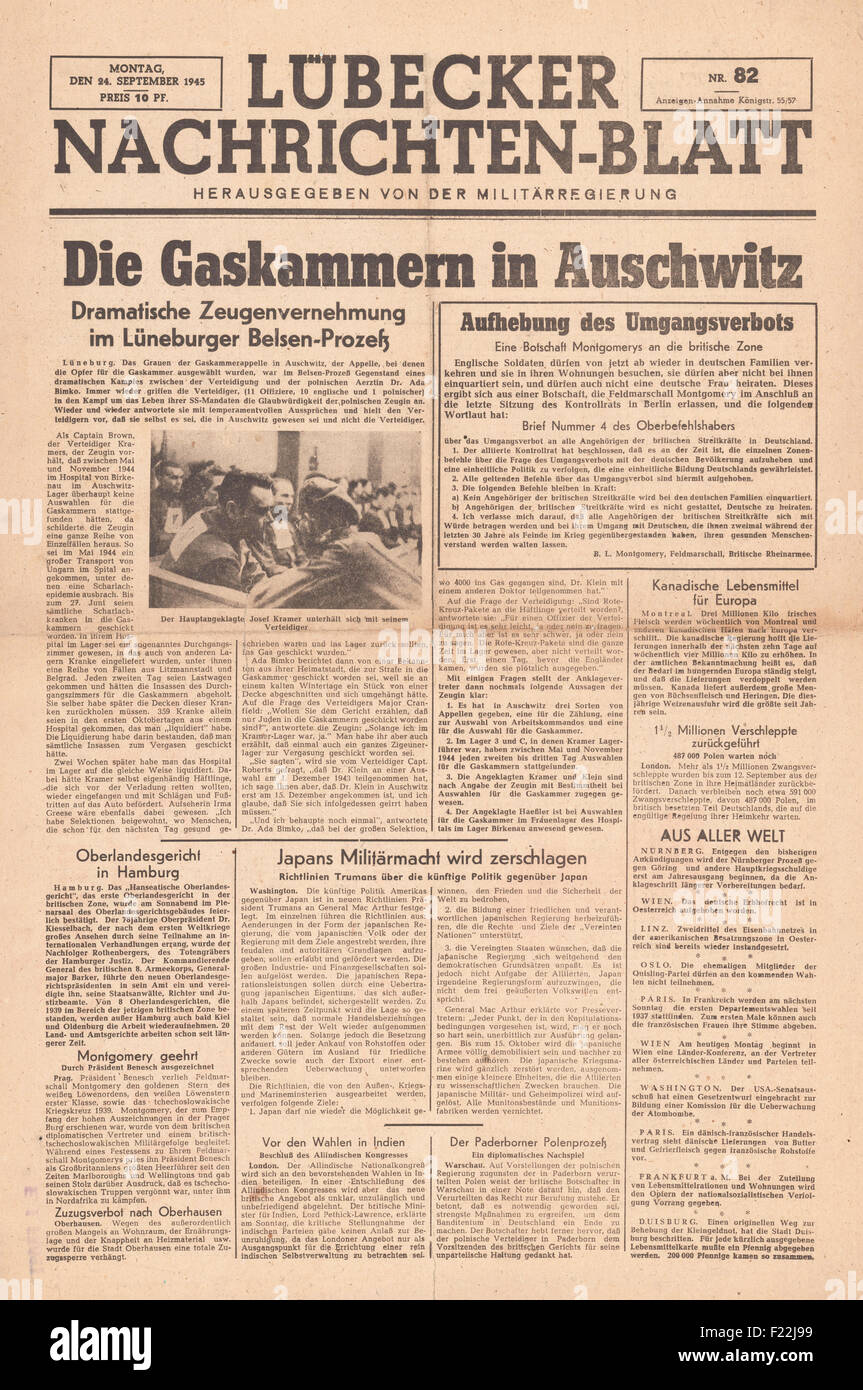 1945 Lübecker Nachrichten-blatt front page reporting the Belsen trial and reference to the gas chambers at Auschwitz Stock Photo