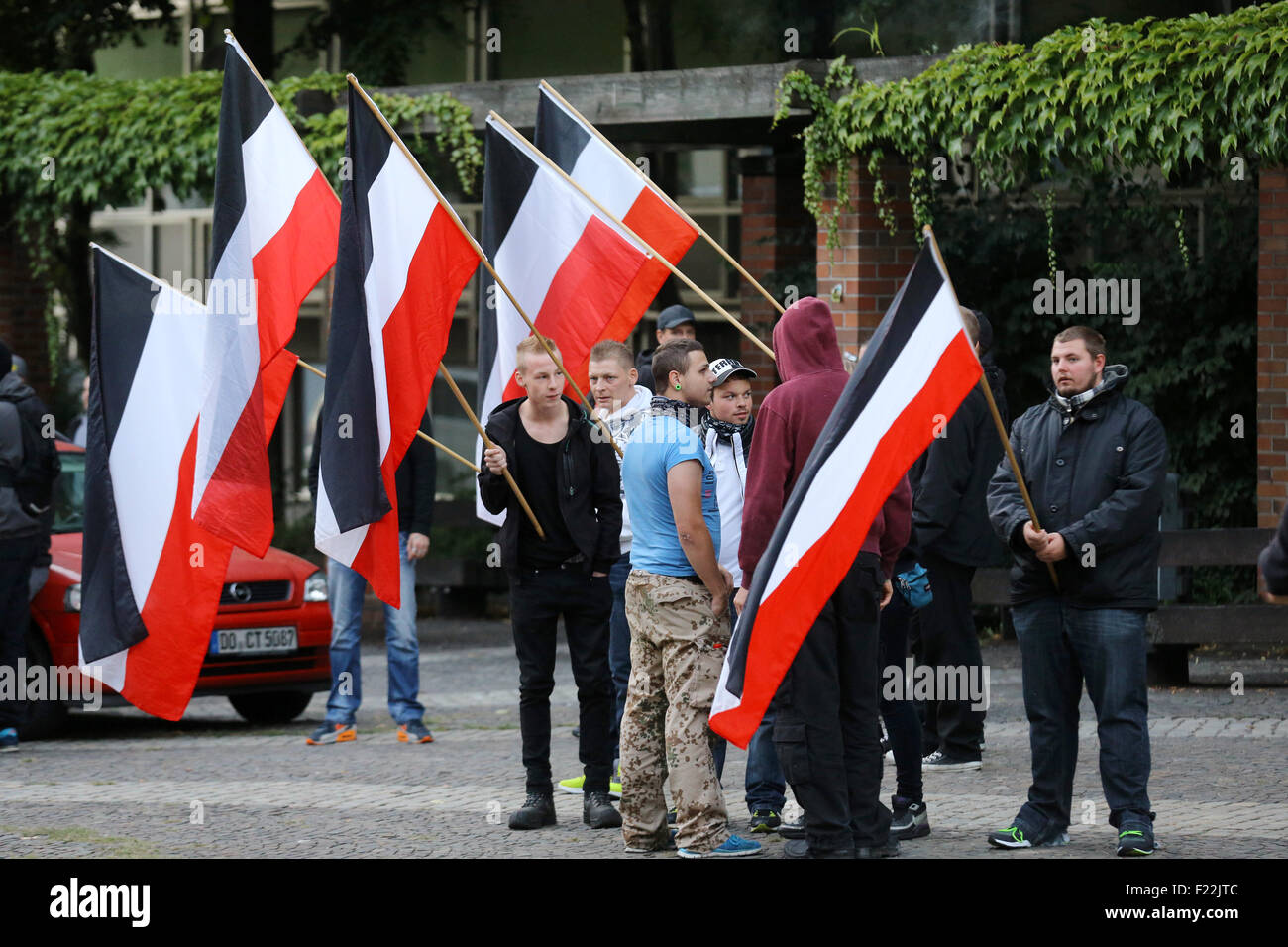 Supporters of the german far right neo-nazi party DIE RECHTE (the rights) waving the flag of the German Empire (Deutsches Stock Photo