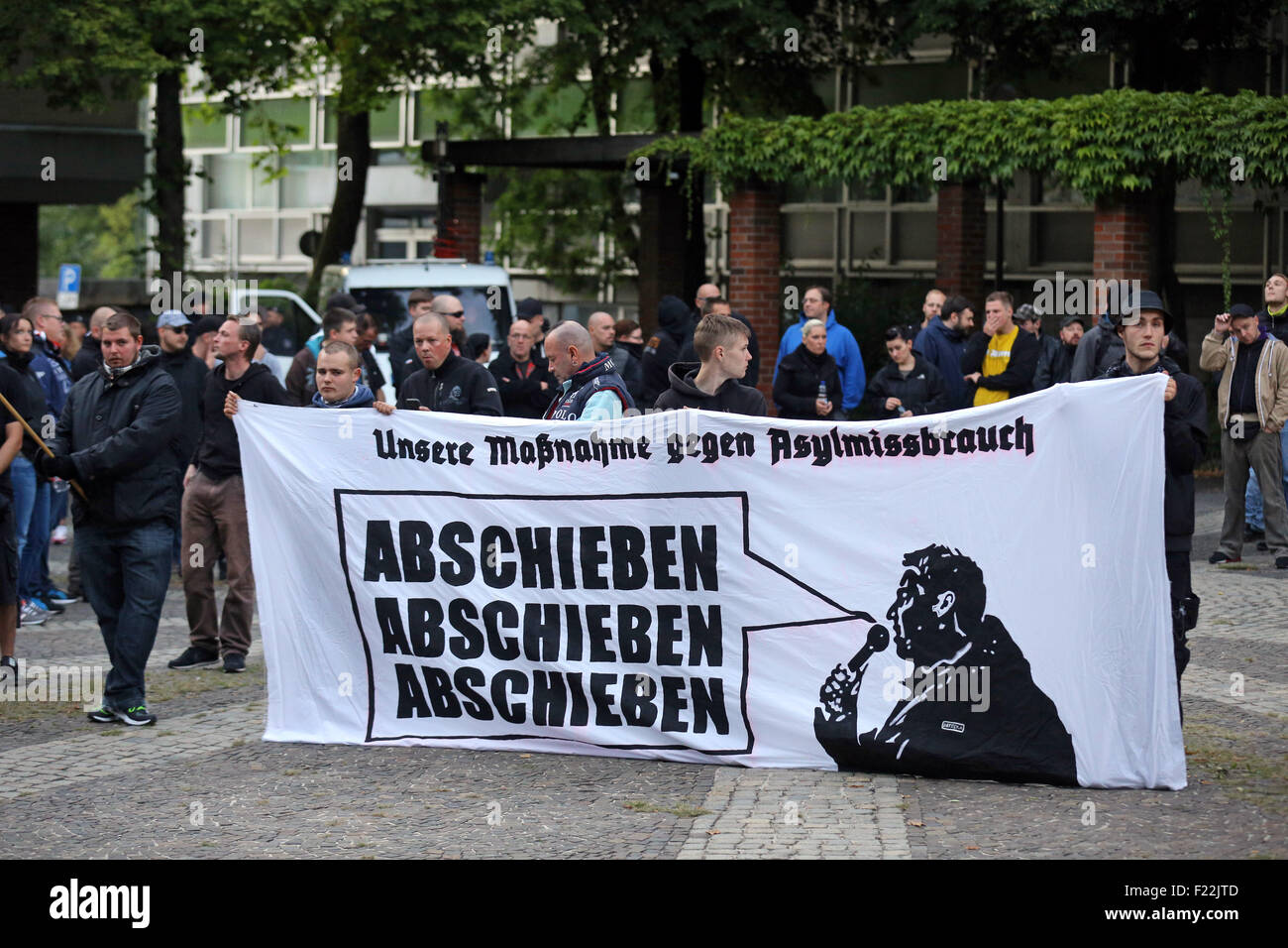 Supporters of the german far right neo-nazi party DIE RECHTE (the rights)  protest in Dortmund/Germany, Sept. 9th. Stock Photo