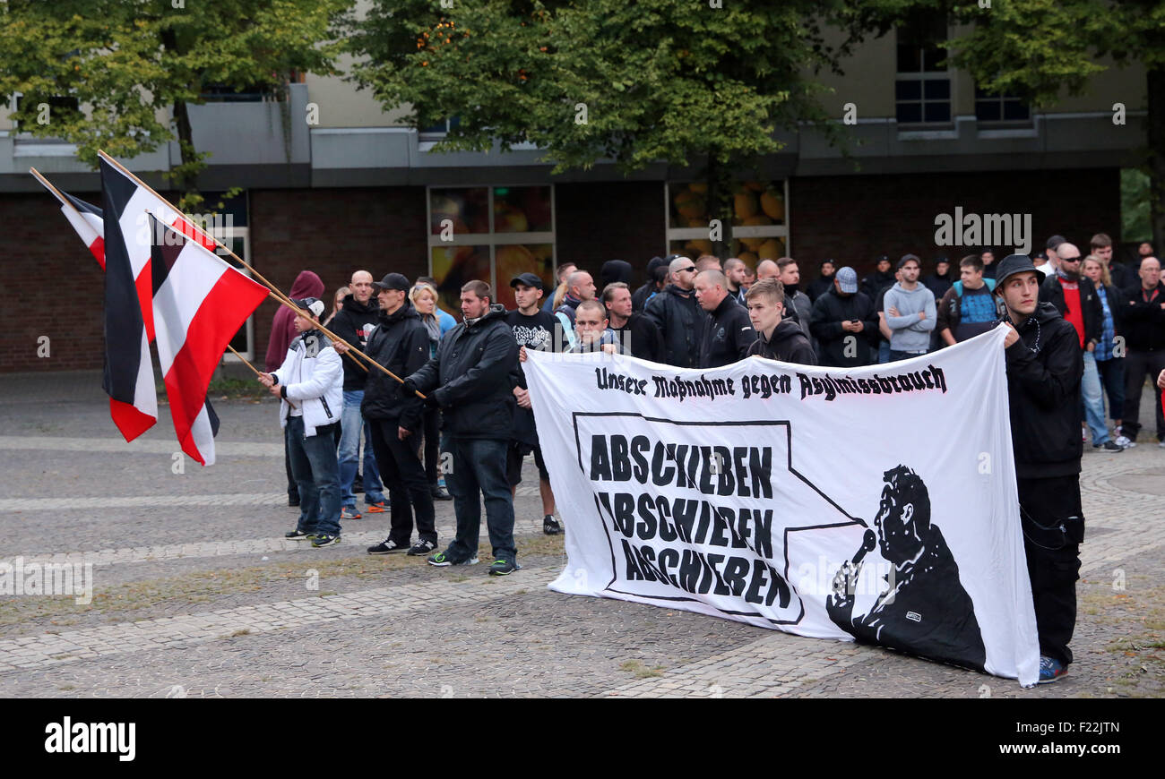 Supporters of the german far right neo-nazi party DIE RECHTE (the rights)  protest in Dortmund/Germany, Sept. 9th. - Stock Image