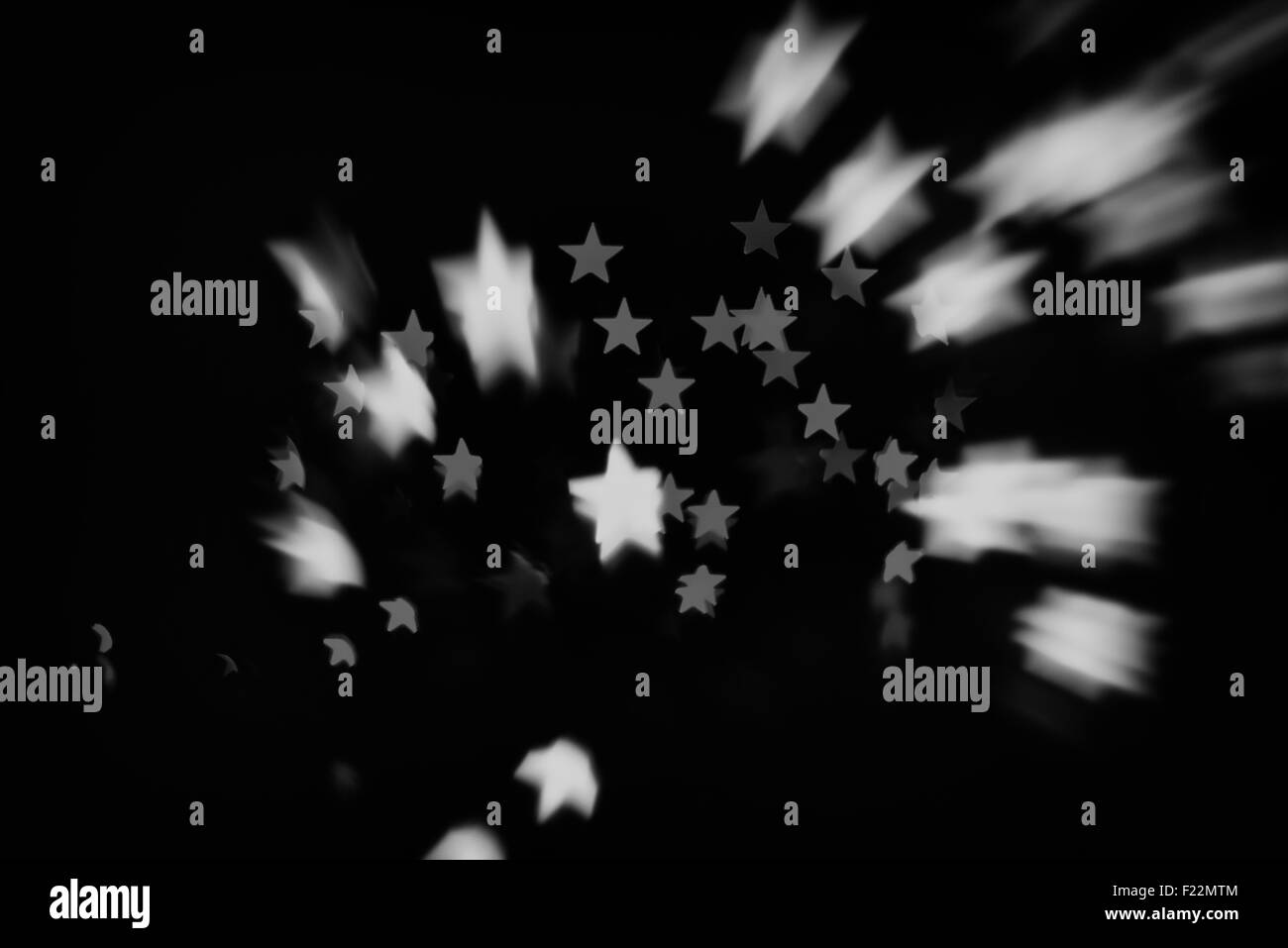 retro black and white stars in space (stars abstract blur background) - Stock Image