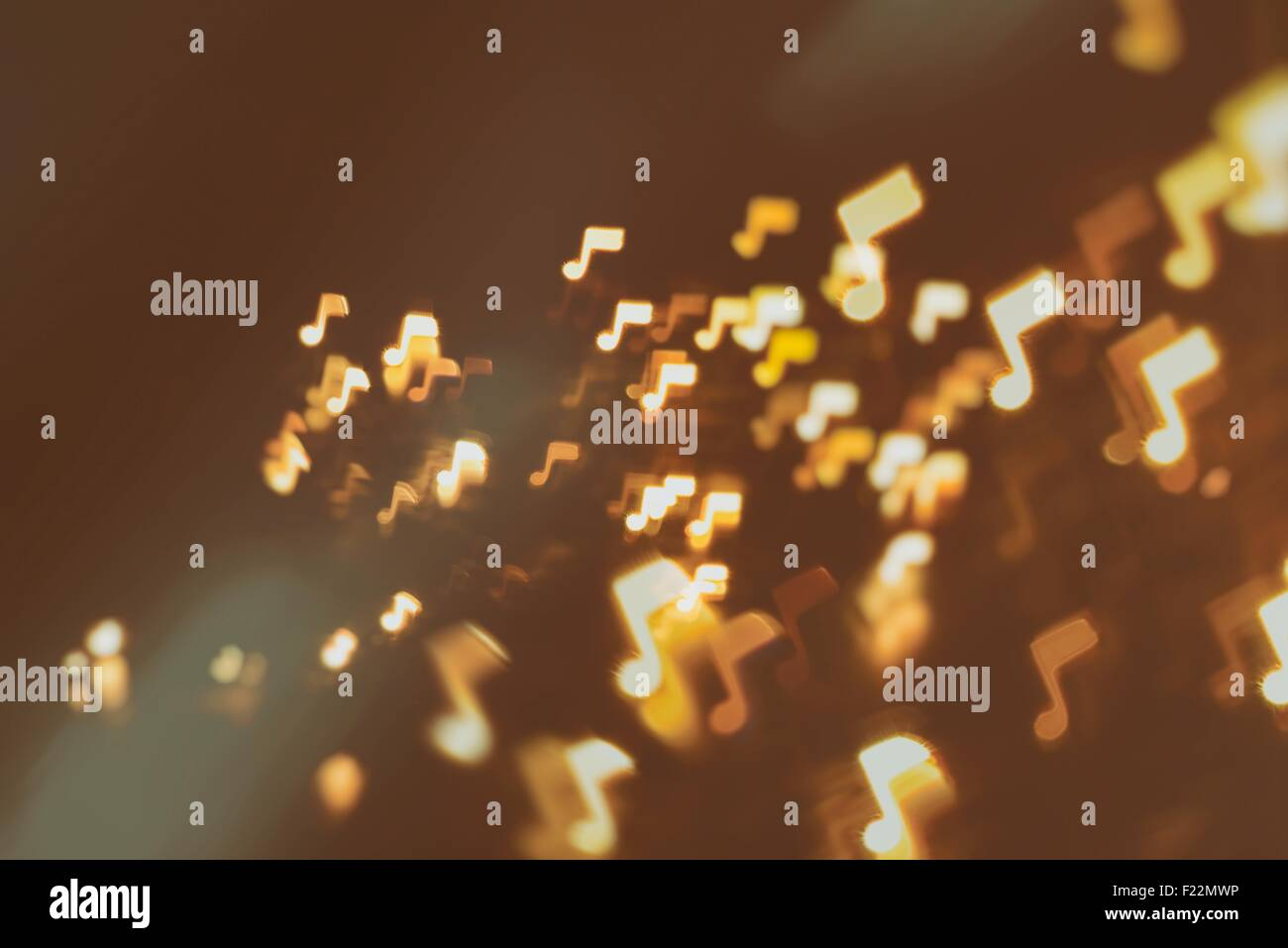 music, sound and notes abstract blur background (notes signs fly in space) - Stock Image