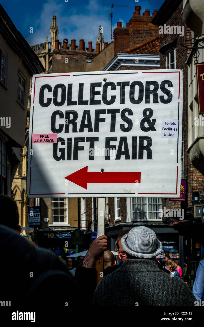 Collectors Crafts and Gift Fair placard, York city centre. - Stock Image