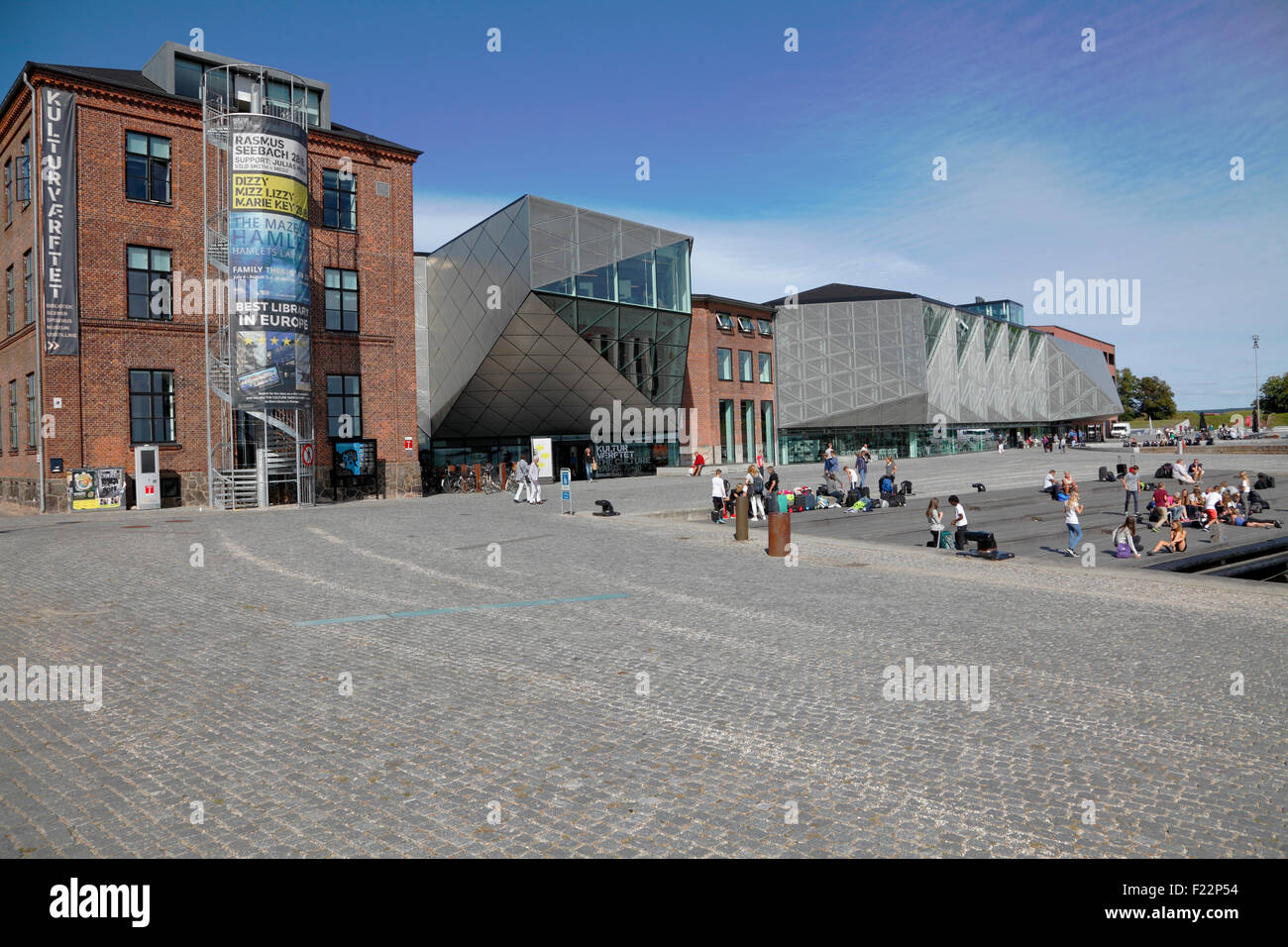 The Culture Yard in the area and buildings of the old shipyard on the waterfront in Elsinore Harbour, Helsingør, - Stock Image
