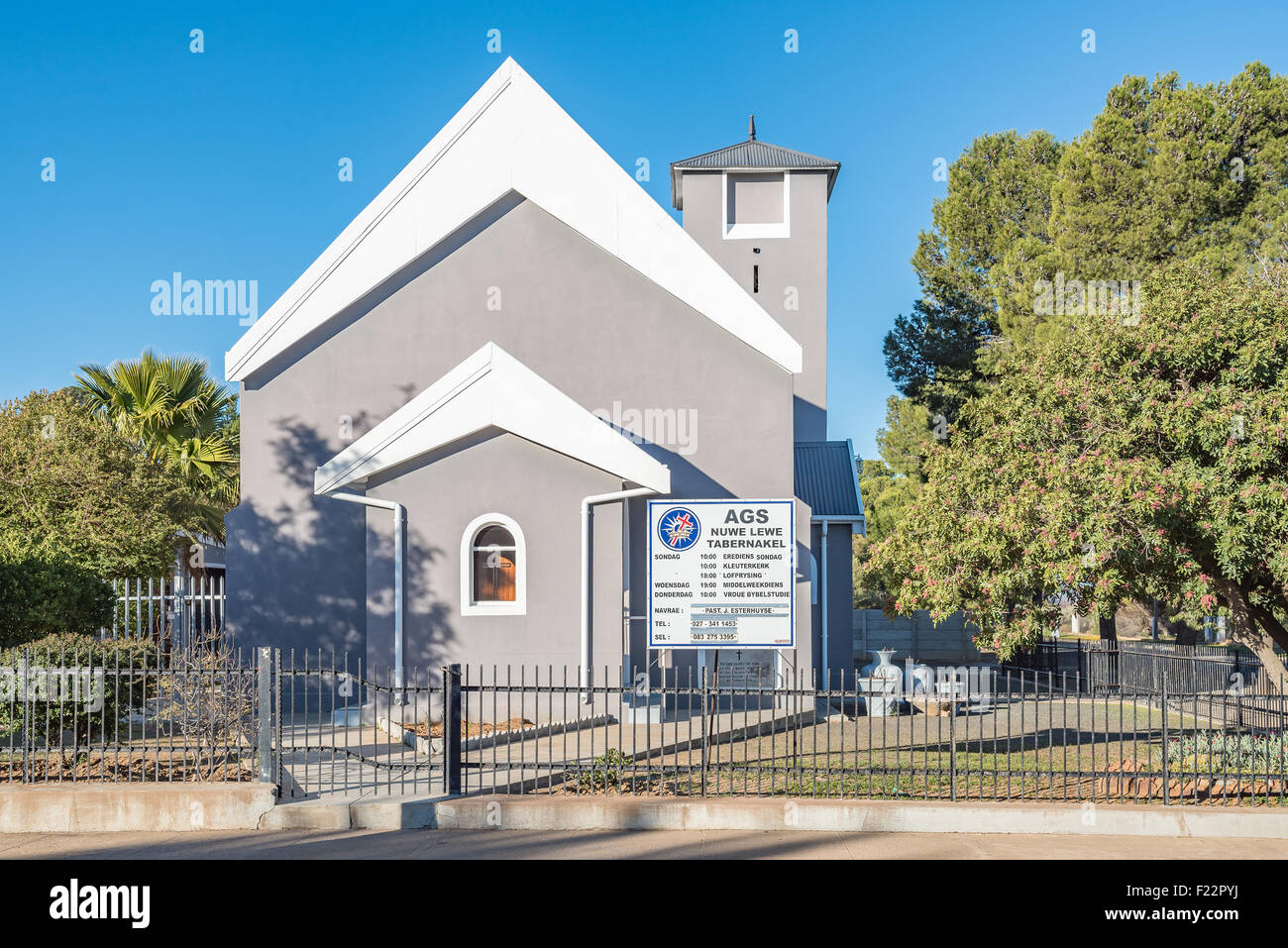 CALVINIA, SOUTH AFRICA - AUGUST 10, 2015: The church building of the Apostolic Faith Mission in Calvinia was built - Stock Image