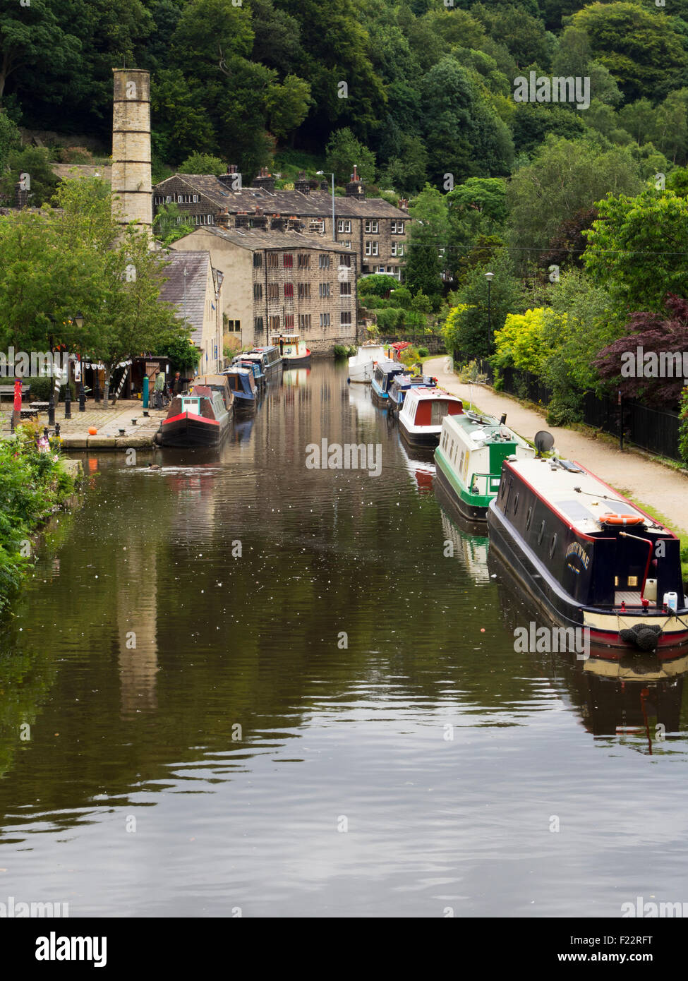 The Rochdale Canal at Hebden Bridge West Yorkshire England - Stock Image