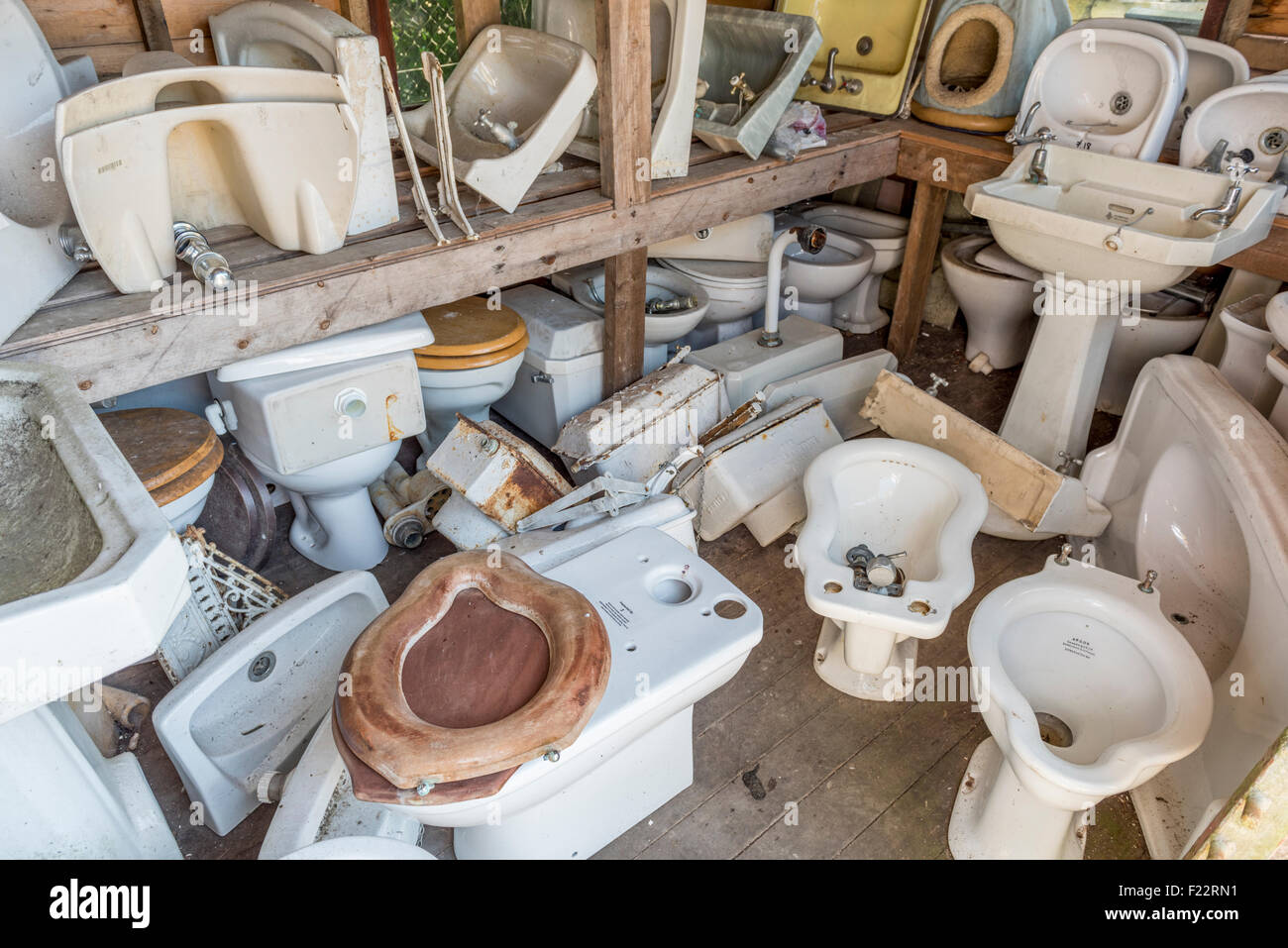 Various bathroom items at an architectural salvage yard in East ...