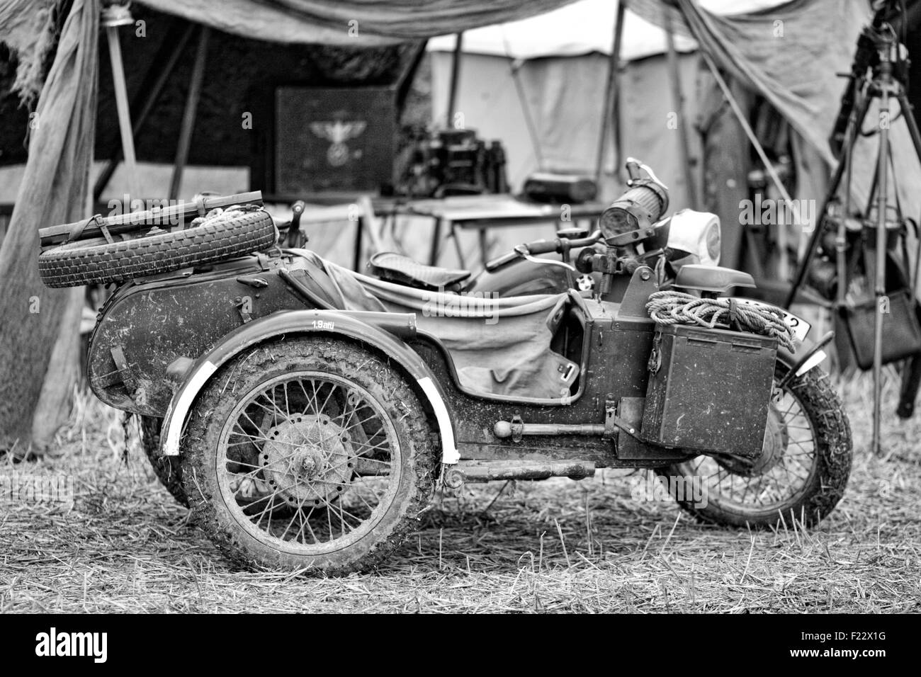 German BMW Motorcycle parked in a German encampment Black and white - Stock Image