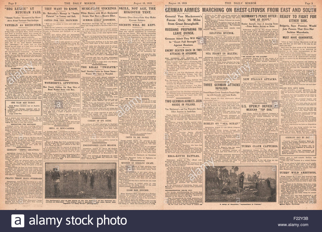 1915 page 2 & 3 Daily Mirror German Army advance on Brest-Litovsk - Stock Image