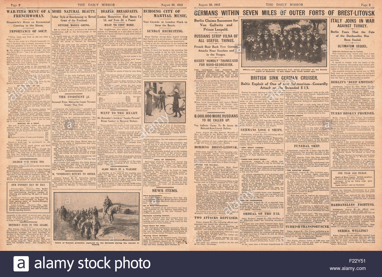 1915 pages 2 and 3 Daily Mirror German Army advance on Brest-Litovsk, Italy declare War on Turkey and Battle of - Stock Image