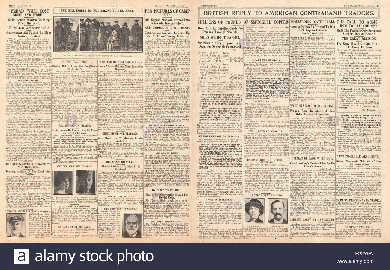 1915 Daily Mirror pages 2 & 3 American contraband reaches Germany and recruitment - Stock Image