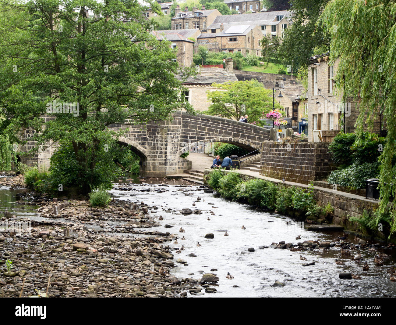 The Old Packhorse Bridge at Hebden Bridge West Yorkshire England - Stock Image