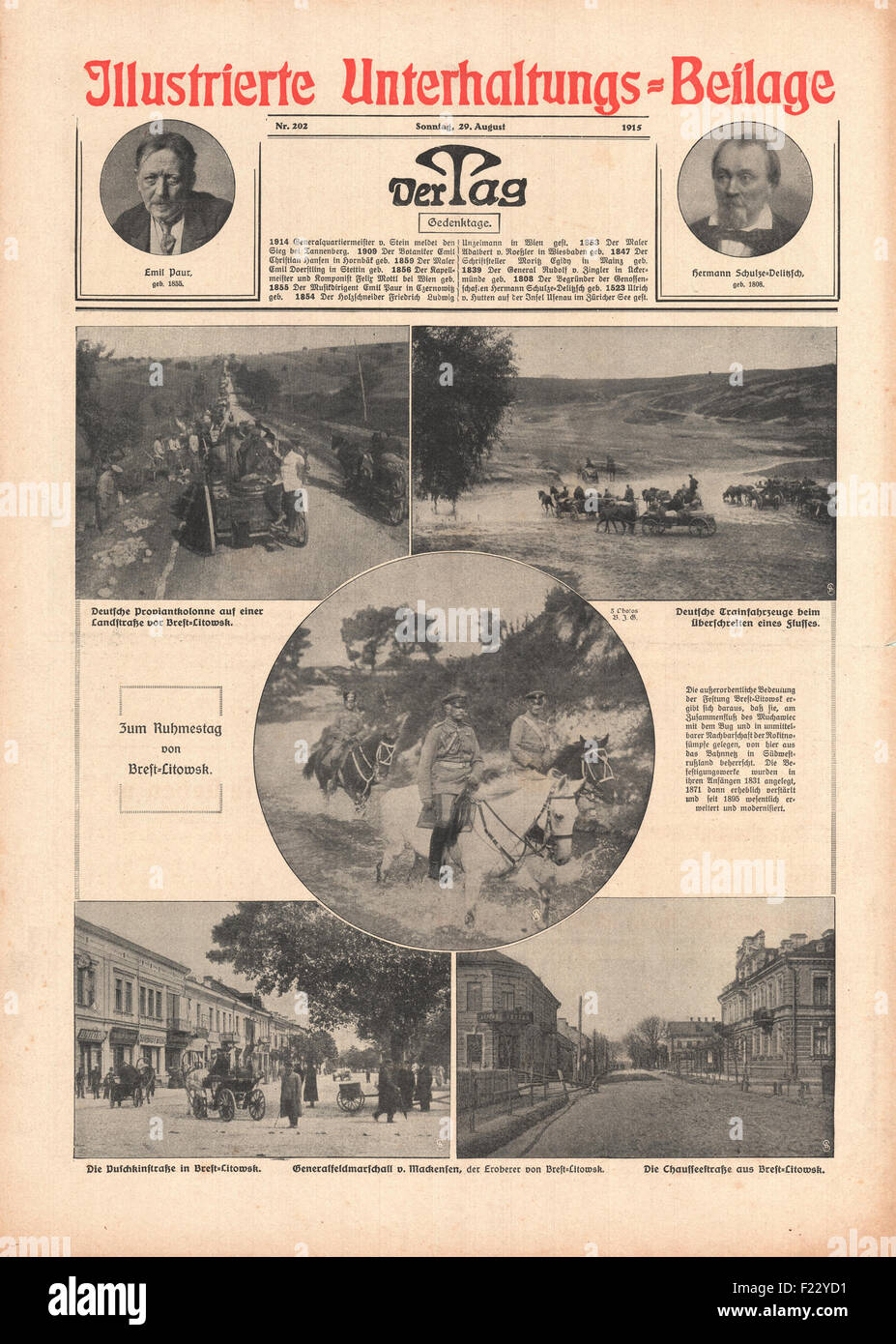 1915 front page Der Tag German Army advance on Brest-Litovsk - Stock Image