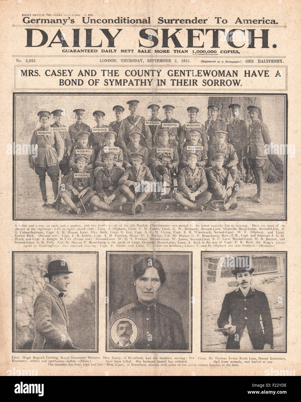 1915 front page Daily Sketch Officers of the 5th Norfolk Territorials,some of whom are listed as missing - Stock Image