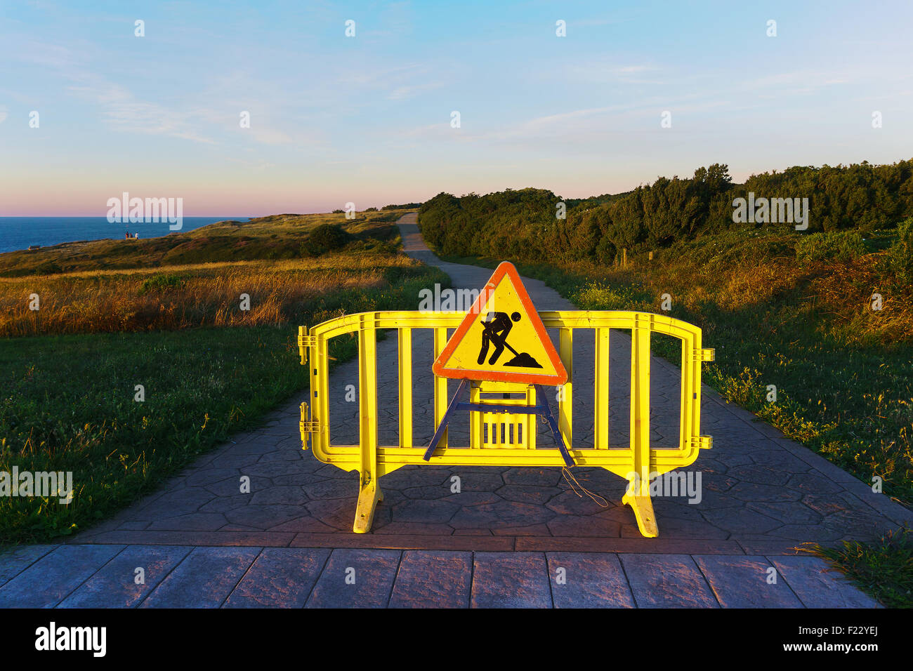 work in progress sign on path - Stock Image
