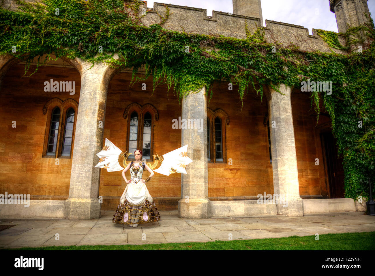 Alternate model steampunk at the asylum Lincoln UK festival woman angel wings weird strange unusual different - Stock Image