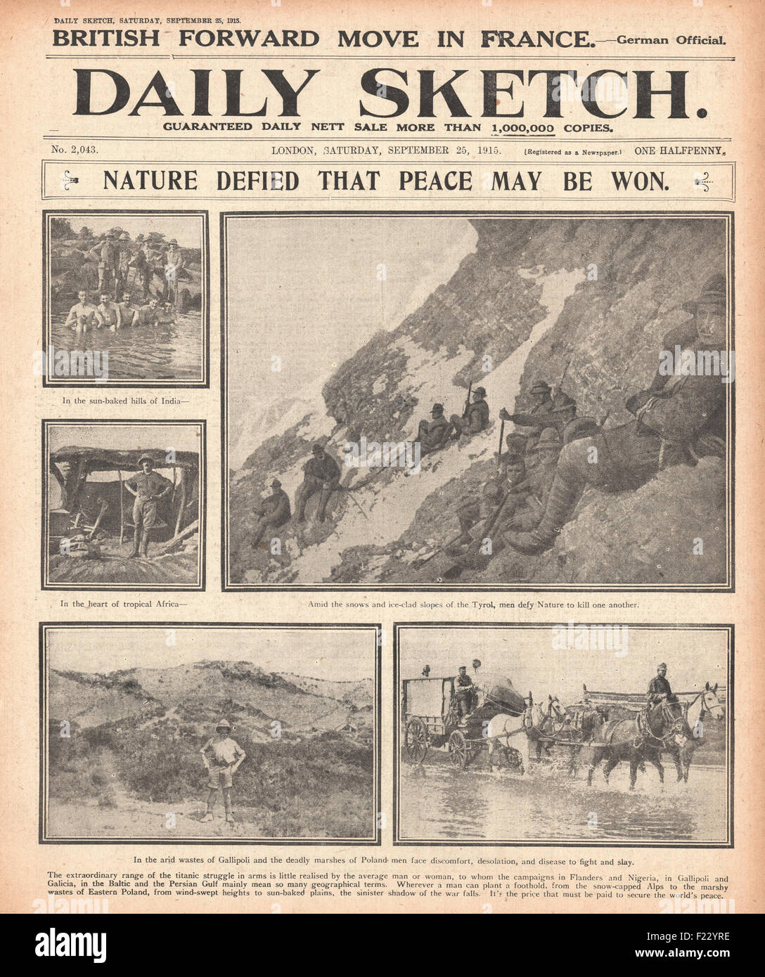 1915 front page Daily Sketch Soldiers shown on many fronts in India, Africa, Austria, Turkey & Poland - Stock Image