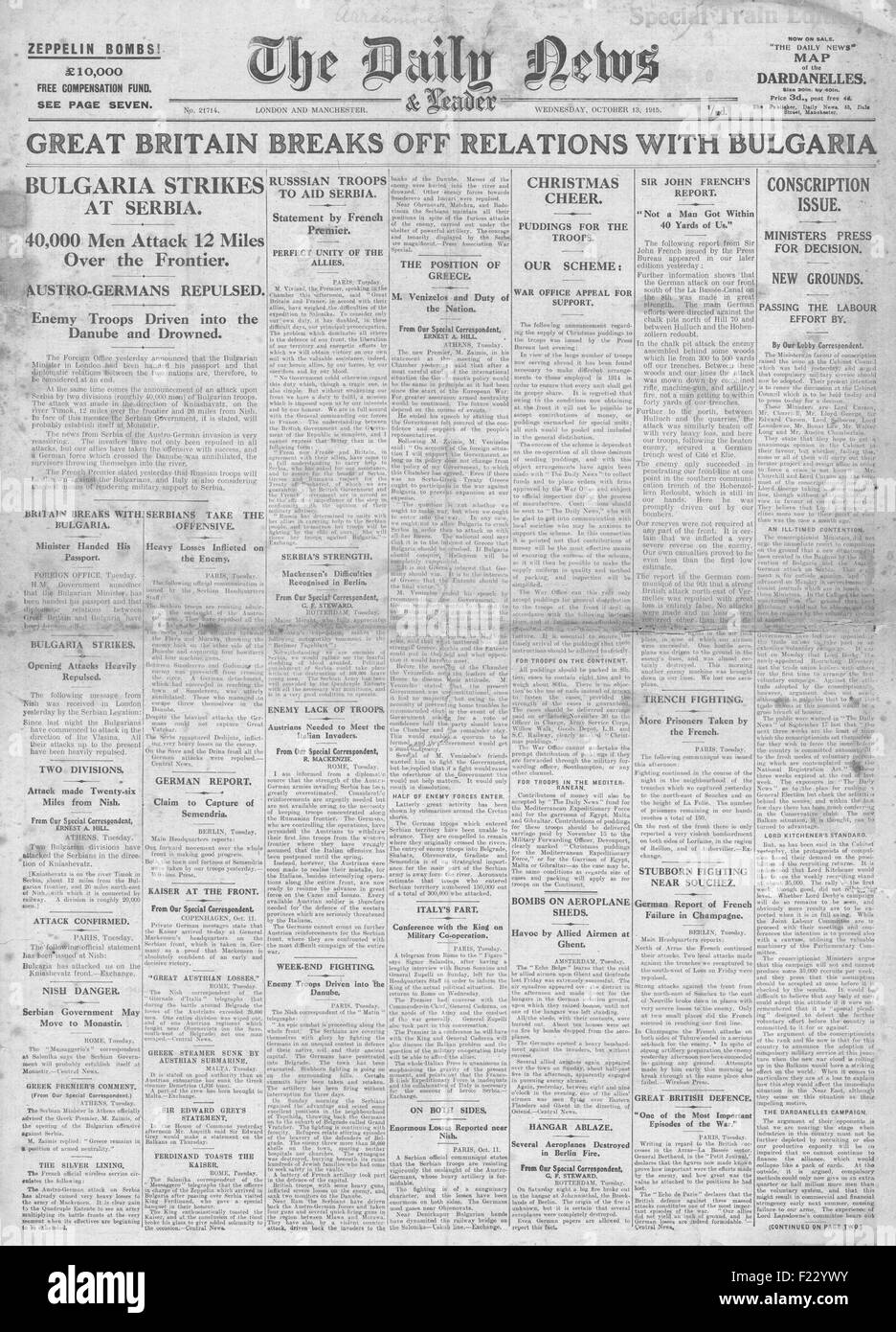 1915 front page Daily News Britain breaks off relations with Bulgaria and Russia to help Allies in Serbia - Stock Image
