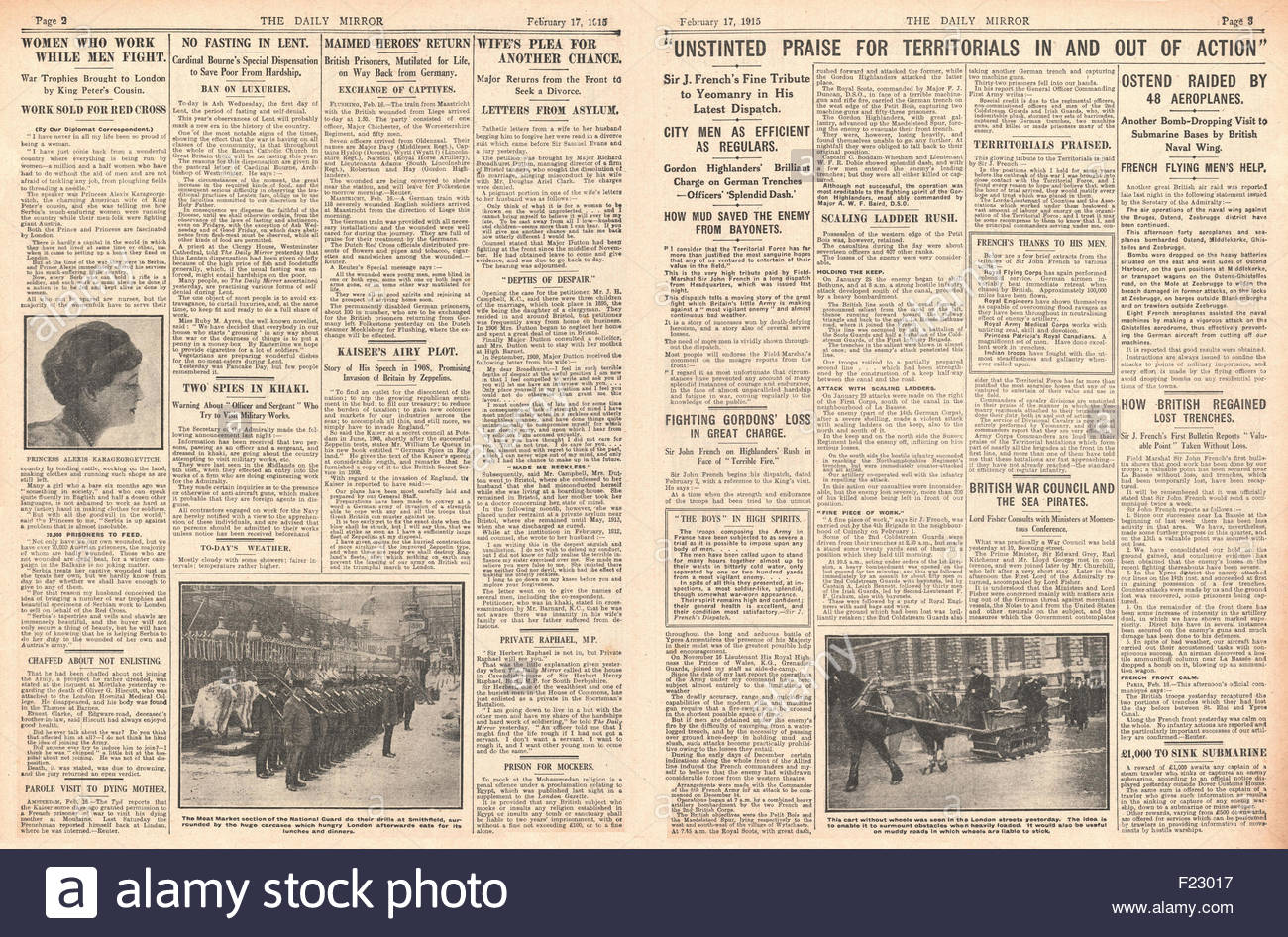 1915 page 2 and 3 Daily Mirror Sir John French praises Territorials, Royal Flying Corps Bomb Oostende and Women - Stock Image