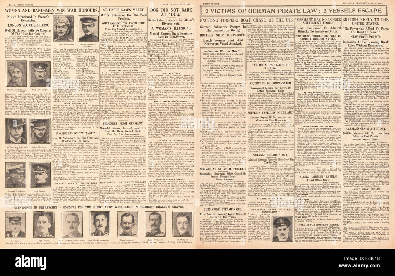 1915 pages 2 and 3 Daily Sketch German Submarine menace, War honours for Women and Bandsmen and Food Shortage in - Stock Image