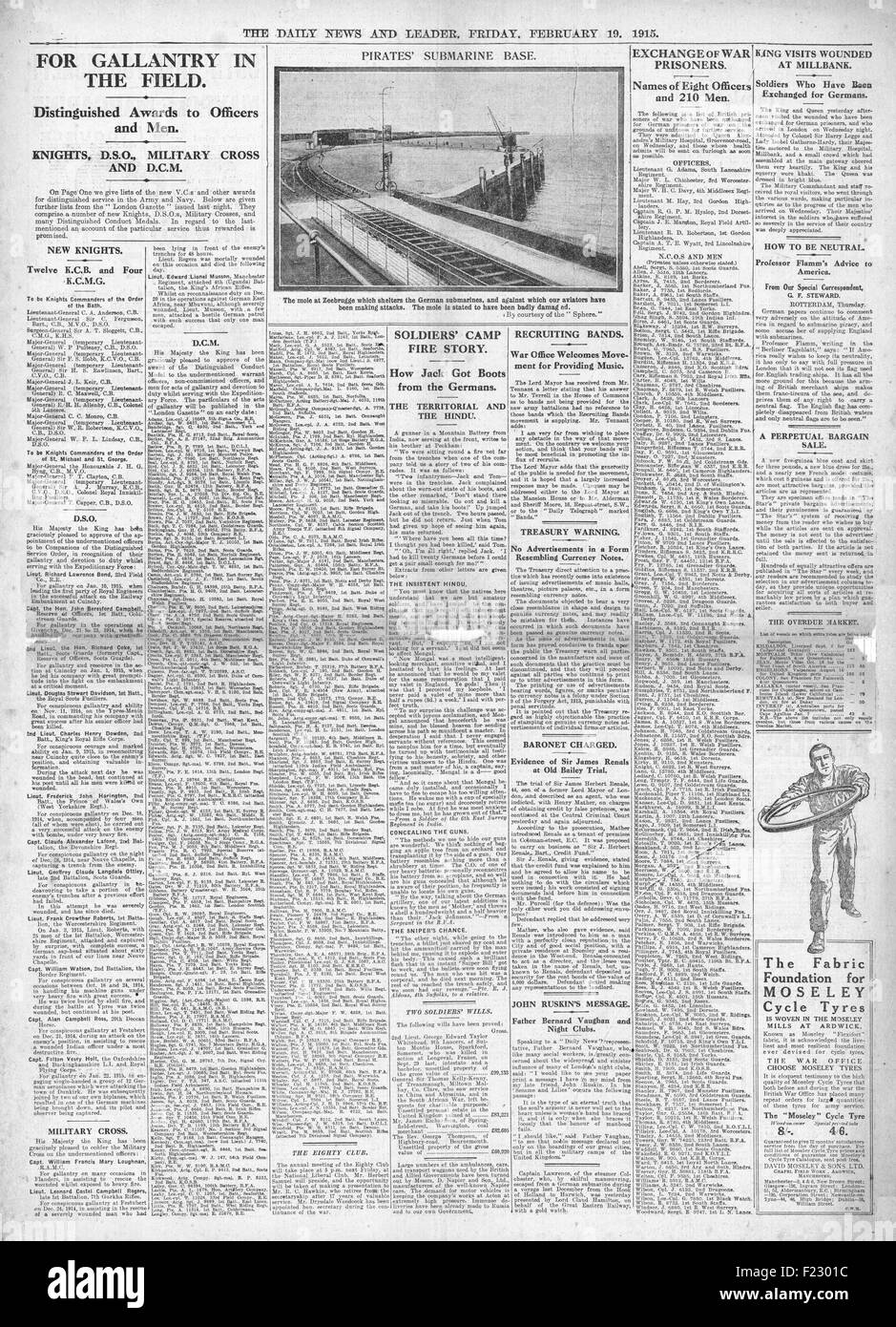 1915 front page Daily News War Honours Awarded Stock Photo