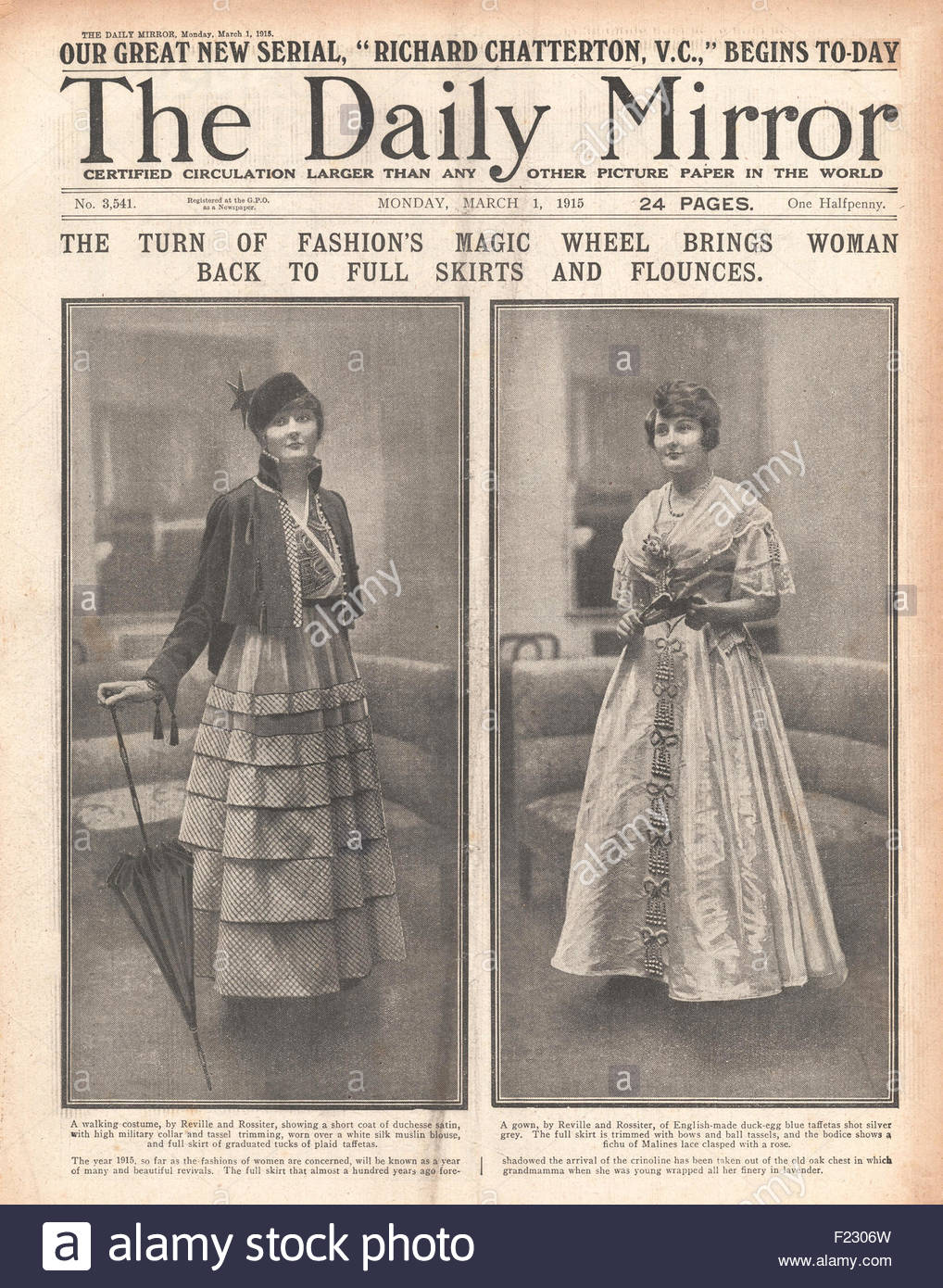 8c38abd49 1915 front page Daily Mirror Ladies Full Skirt Fashion - Stock Image