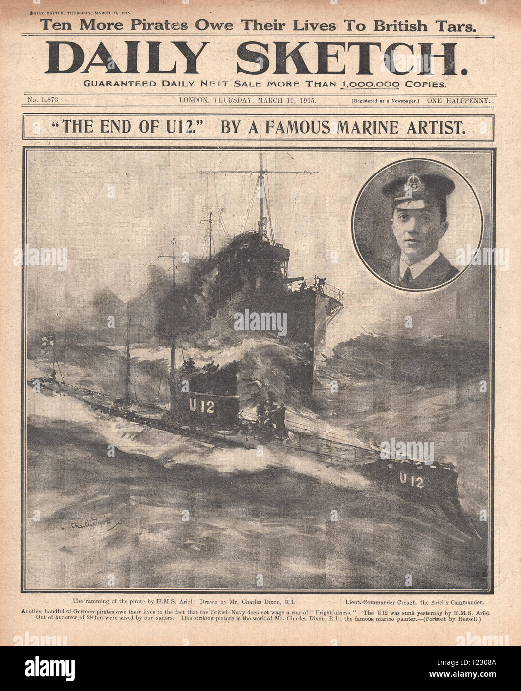 1915 front page Daily Sketch Ramming and sinking of German submarine U-12 by HMS Ariel, HMS Acheron and HMS Attack - Stock Image