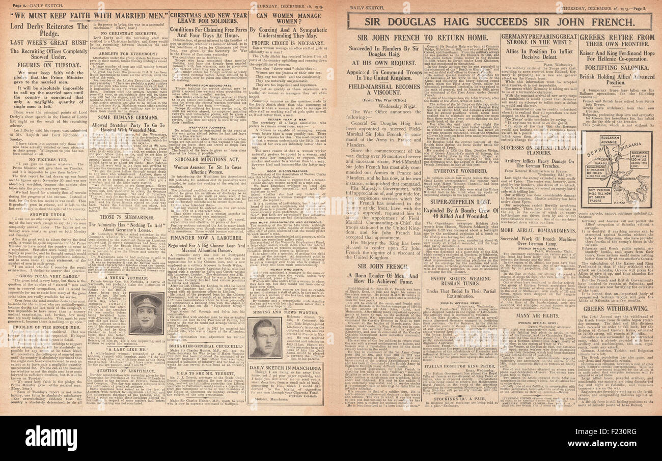1915 pages 4 and 5 Daily Sketch Sir Douglas Haig succeeds Sir John French as British commander in France - Stock Image