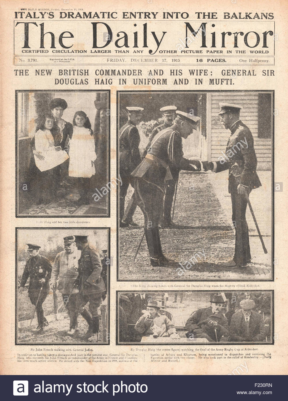 1915 front page Daily Mirror Sir Douglas Haig succeeds Sir John French as British commander in France and Flanders - Stock Image