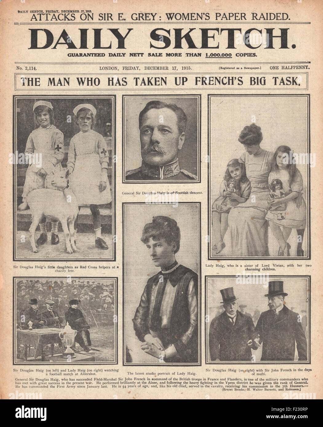 1915 front page Daily Sketch Sir Douglas Haig succeeds Sir John French as British commander in France and Flanders - Stock Image