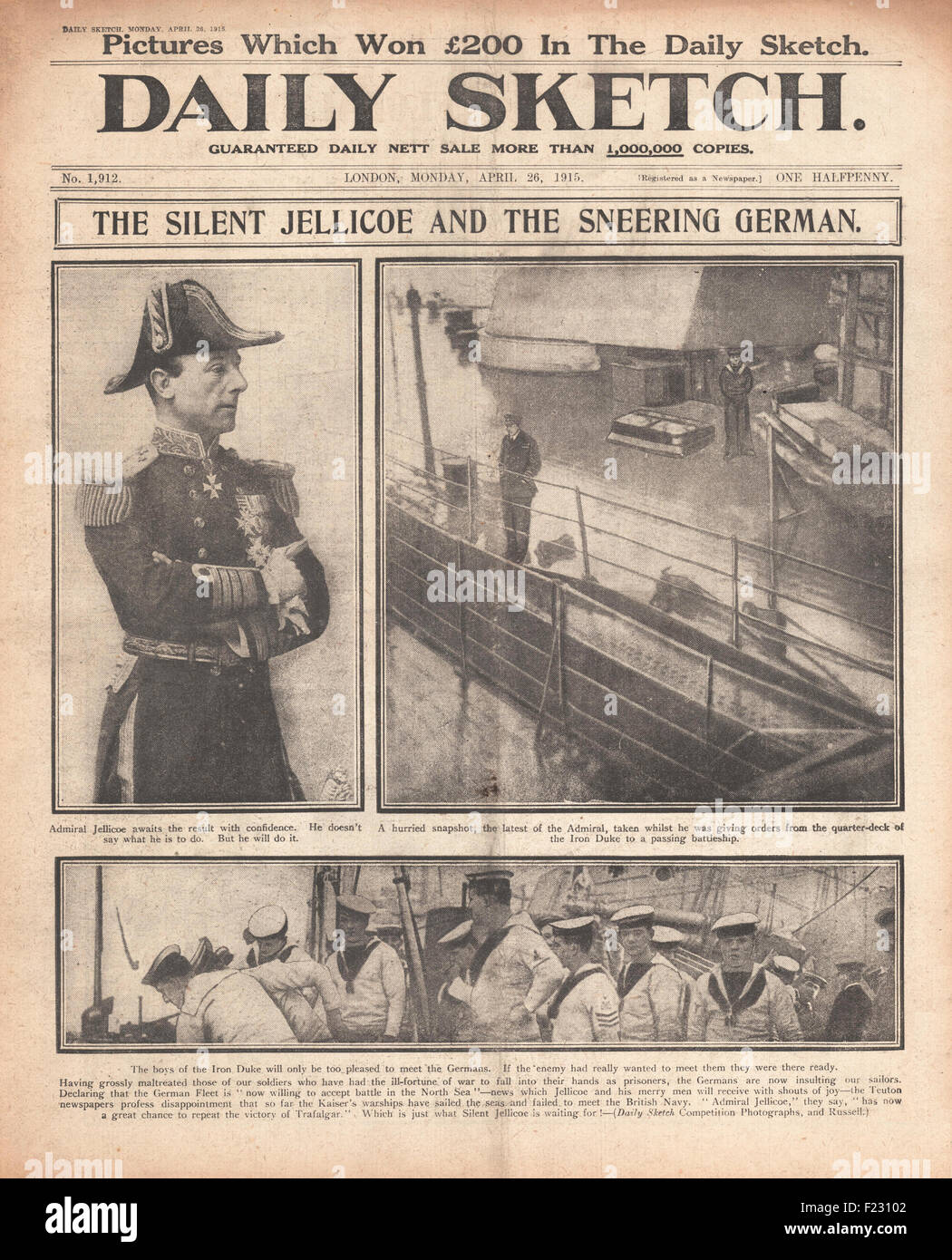 1915 front page Daily Sketch Admiral Jellicoe and HMS Iron Duke - Stock Image