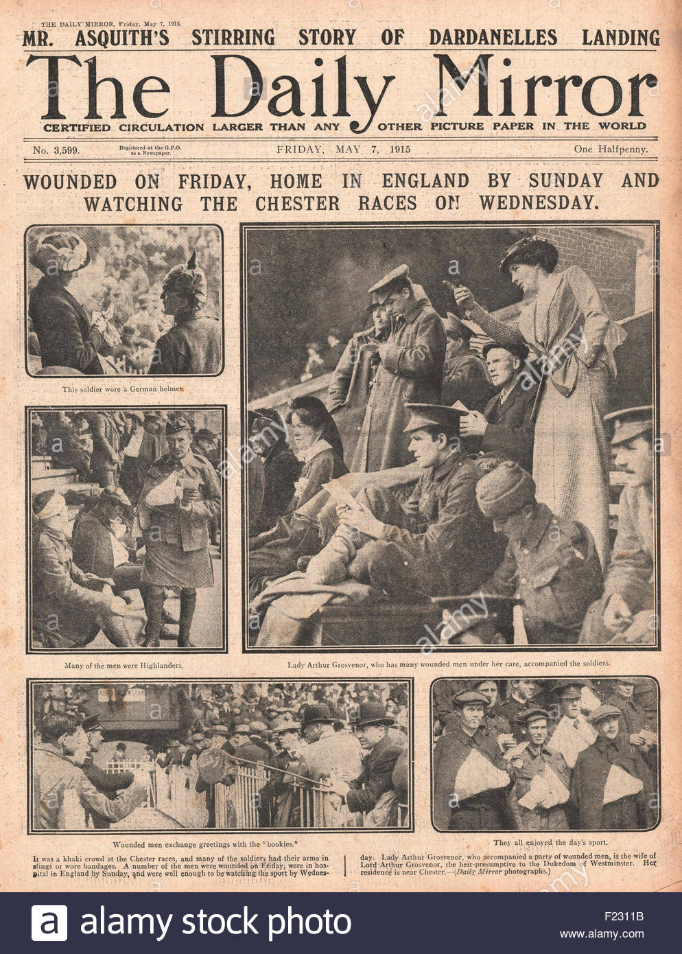 1915 front page Daily Mirror Wounded British soldiers at Chester races - Stock Image