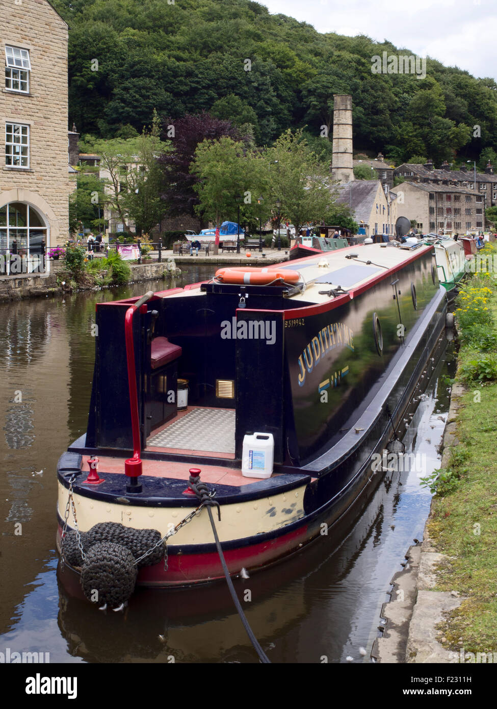 Narrowboats on The Rochdale Canal at Hebden Bridge West Yorkshire England - Stock Image