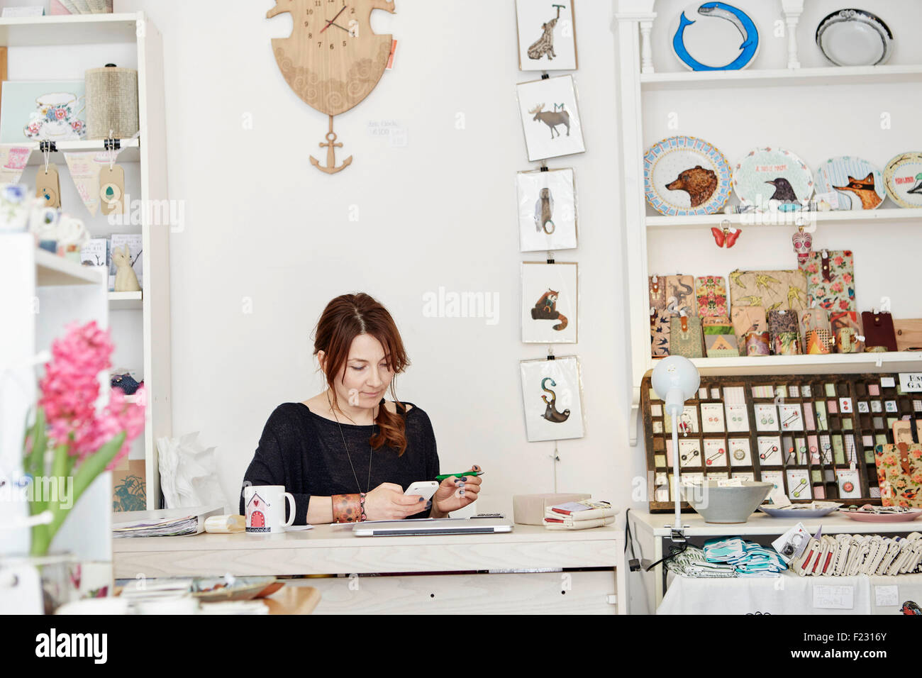 A woman sitting at a desk in a small gift shop, doing the paperwork, managing the business, using a laptop and a - Stock Image